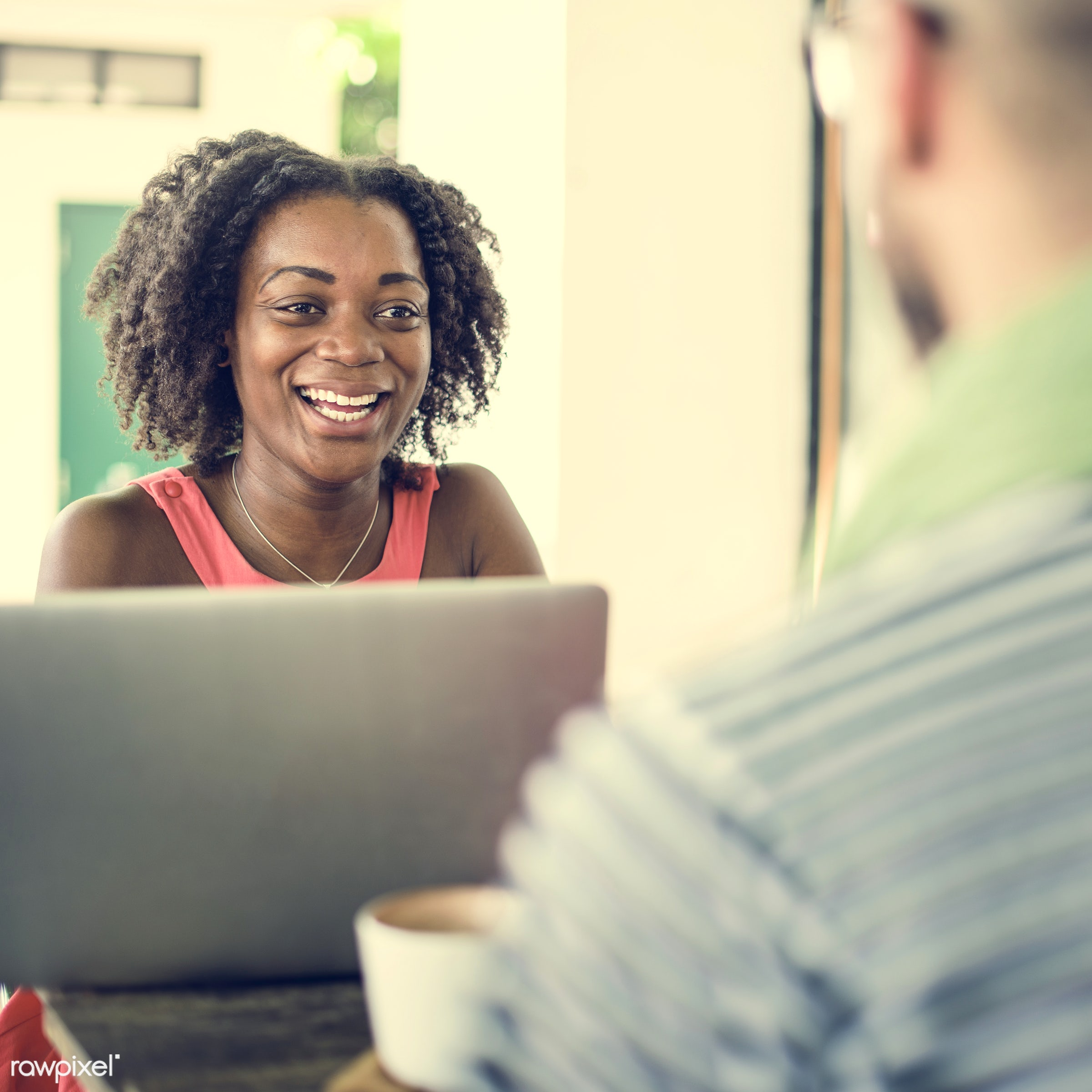 african descent, cafe, casual, cheerful, coffee break, coffee shop, communication, connection, correspondence, digital...