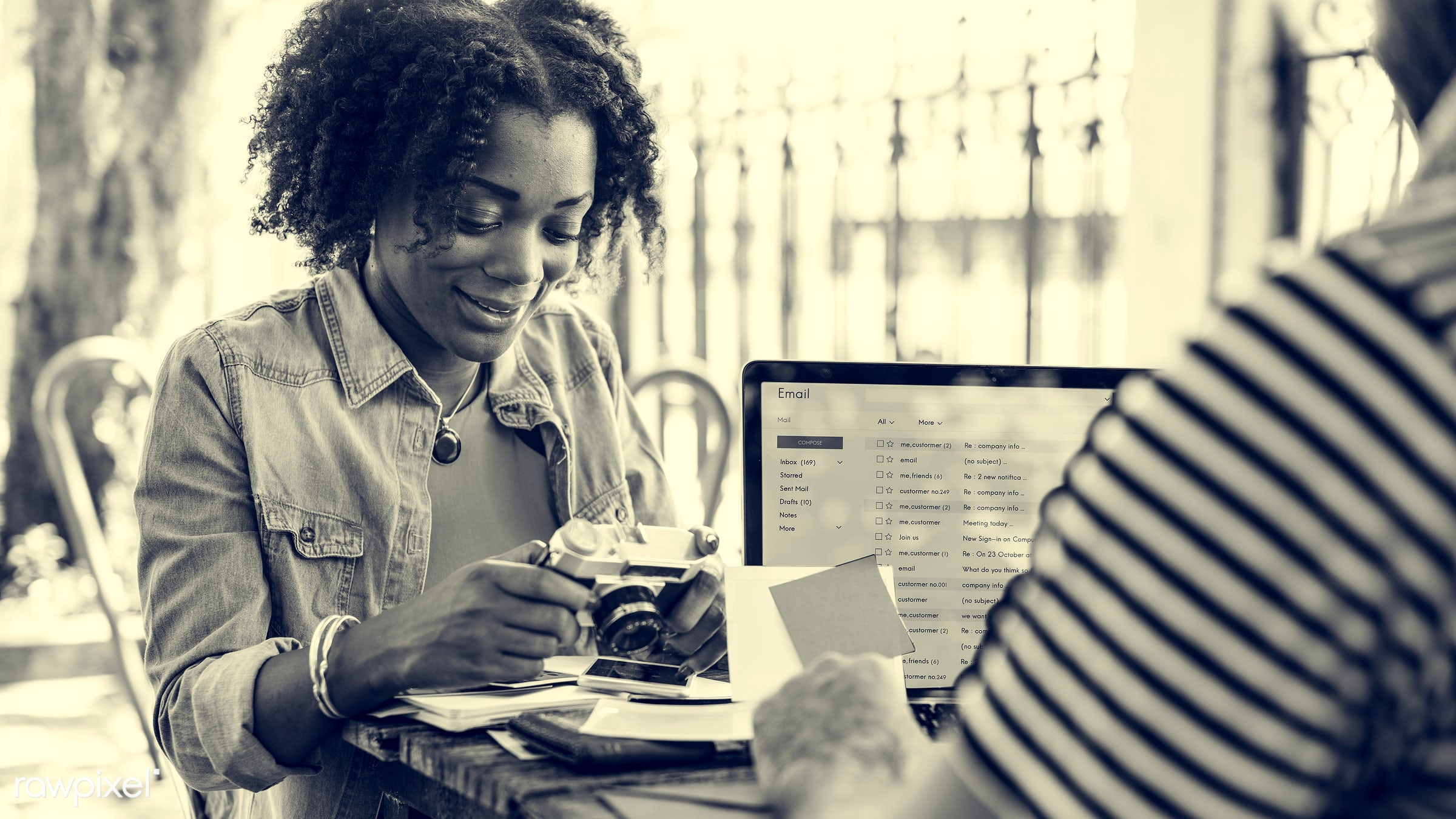 african descent, casual, cheerful, coffee break, coffee shop, communication, connection, correspondence, digital device,...
