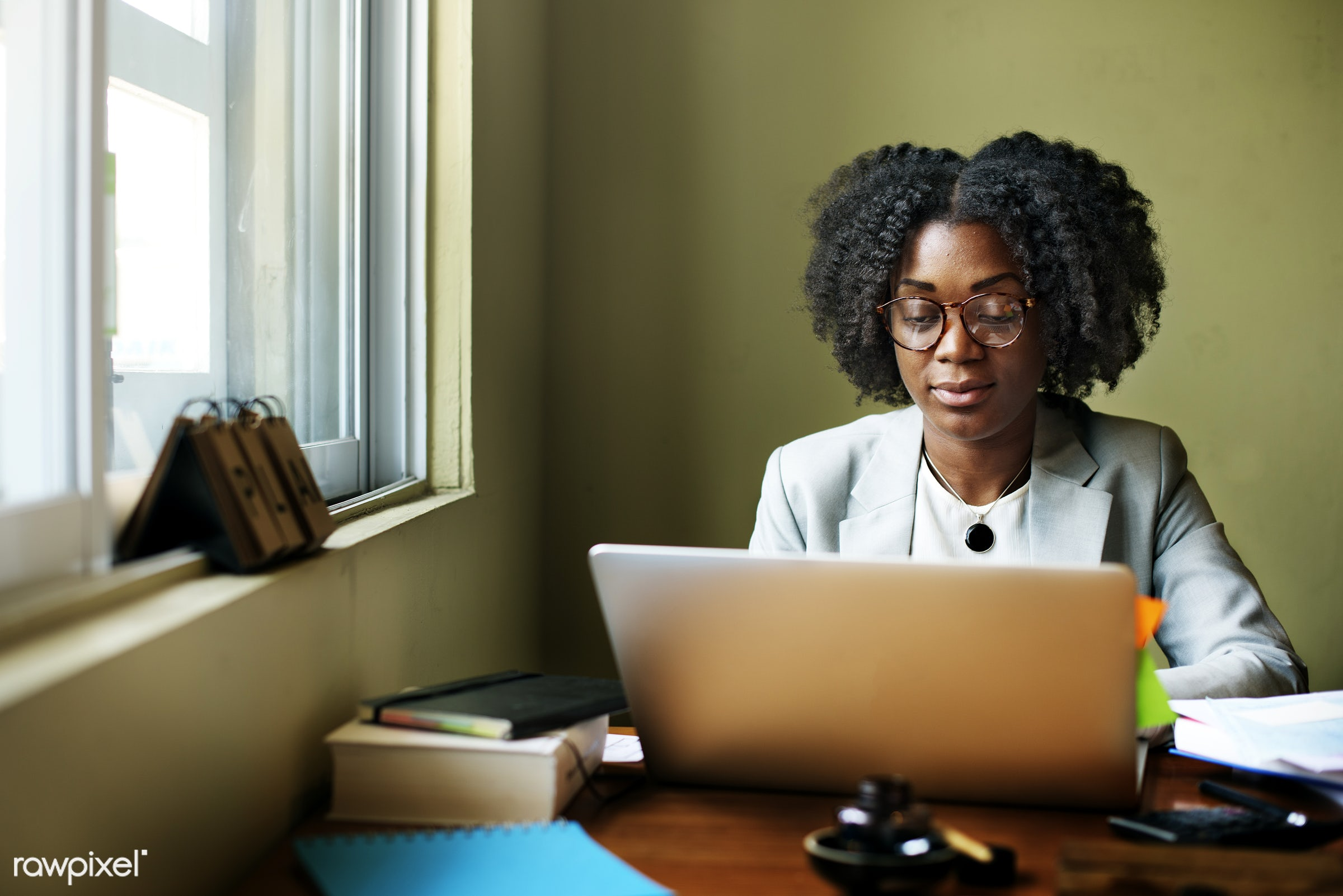african, african descent, analysing, browsing, business, businesswoman, casual, cheerful, communication, computer, computer...