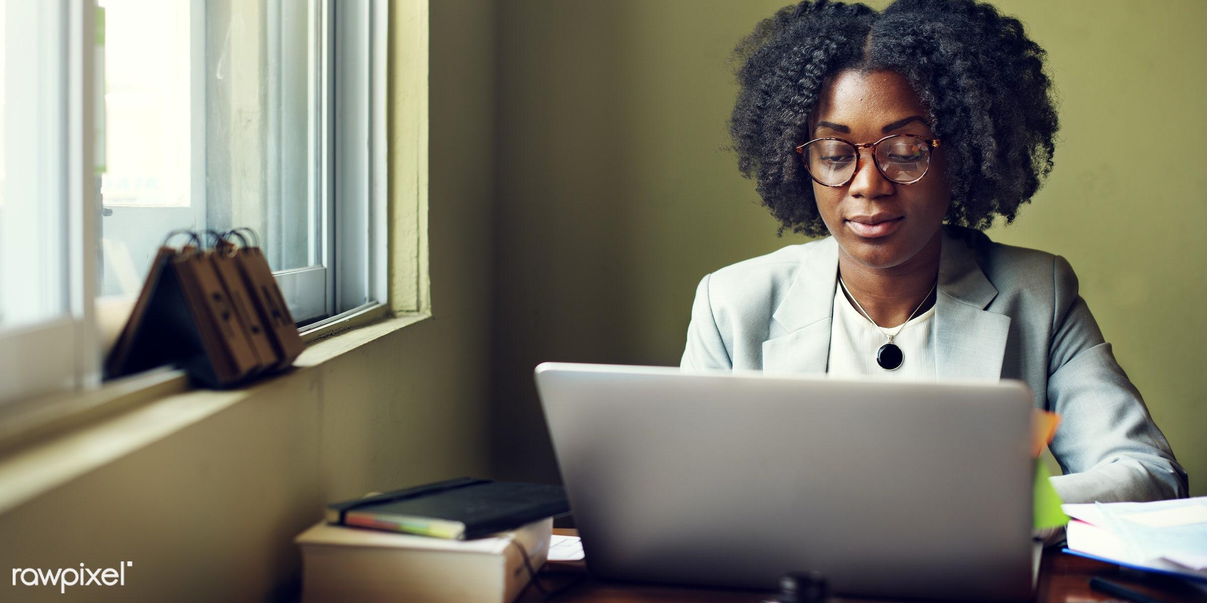 african descent, black, business, busy, computer, corporate, desk, device, digital, electronics, eyeglass, girl, job, lady,...