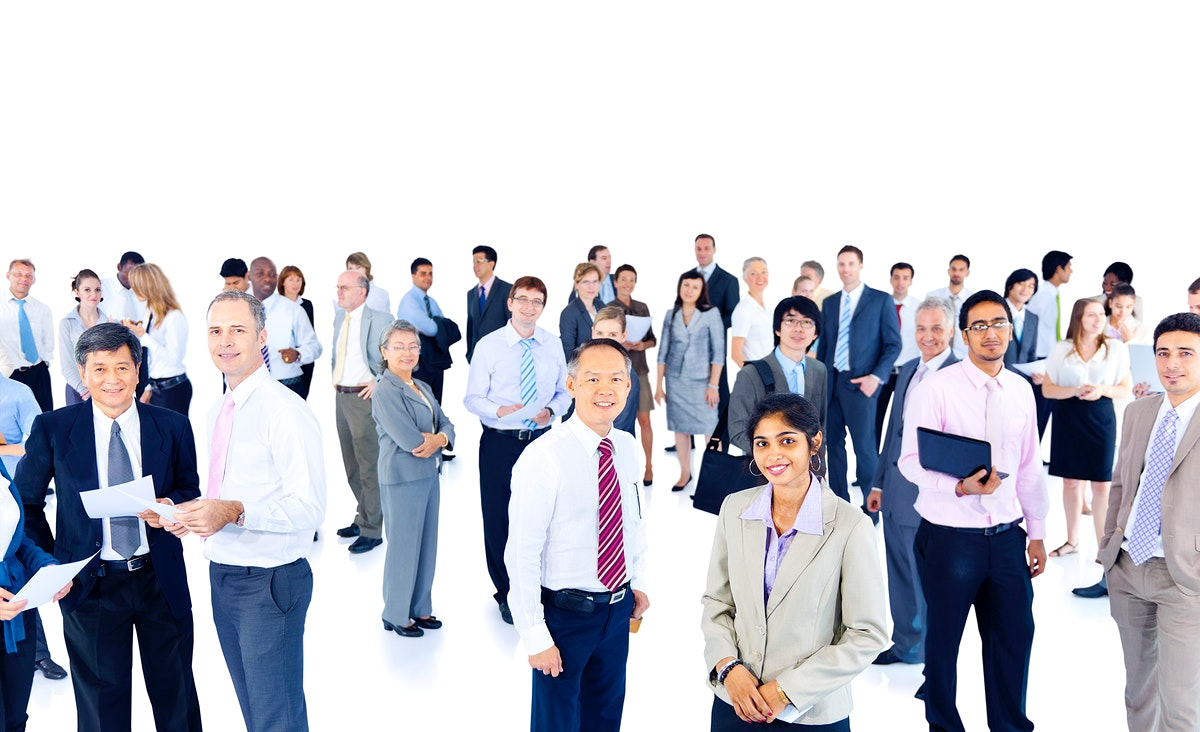 Large group of business professionals