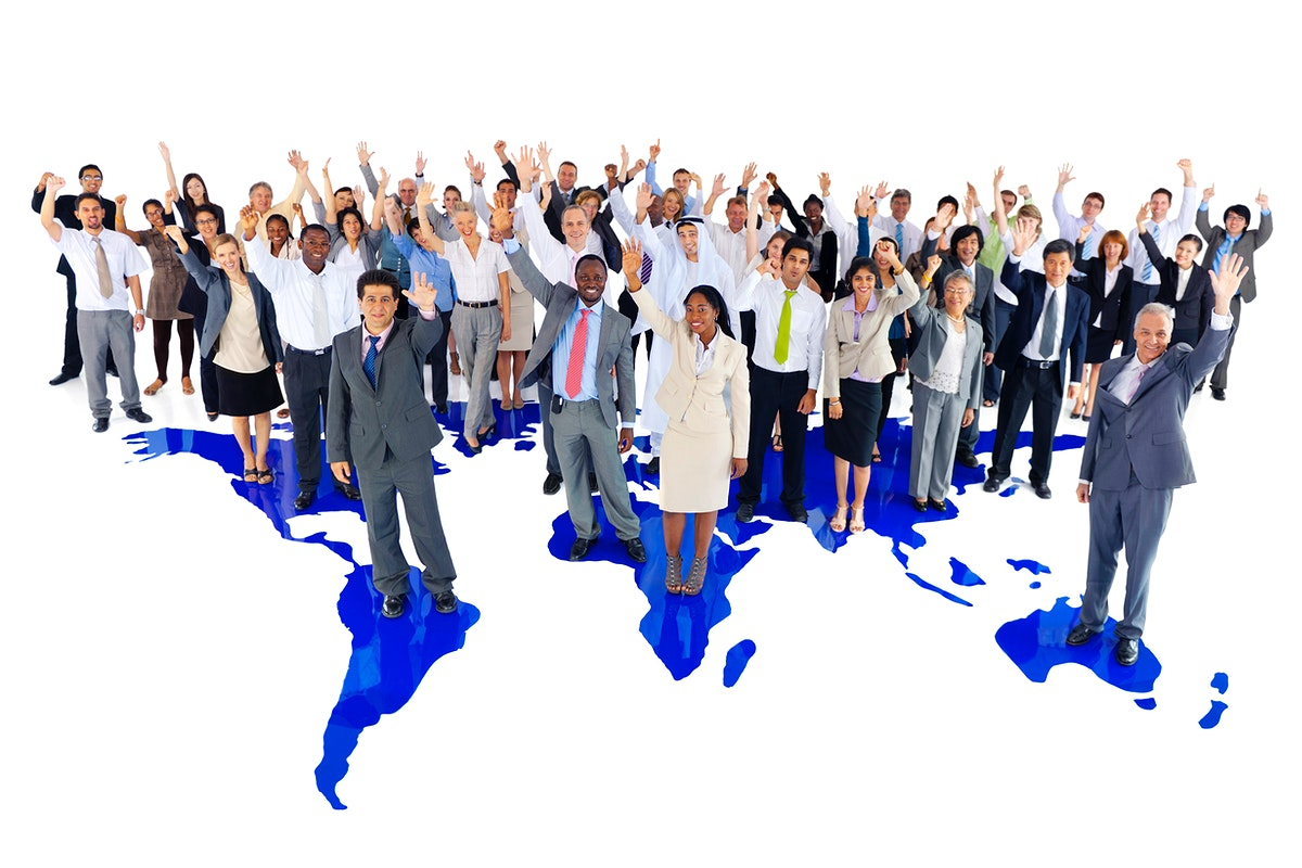 Large group of global business people