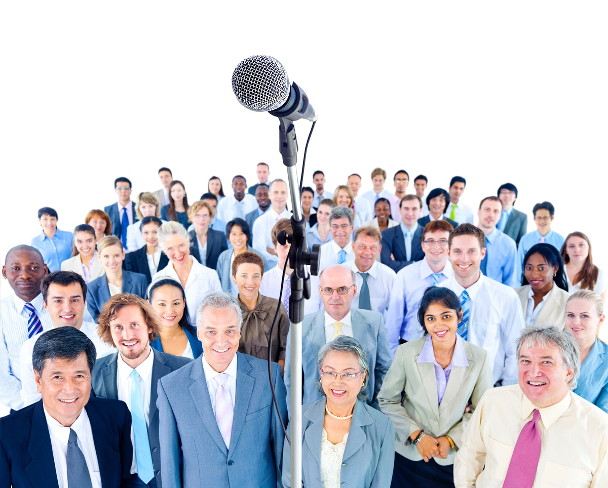 Large group of business people at a conference