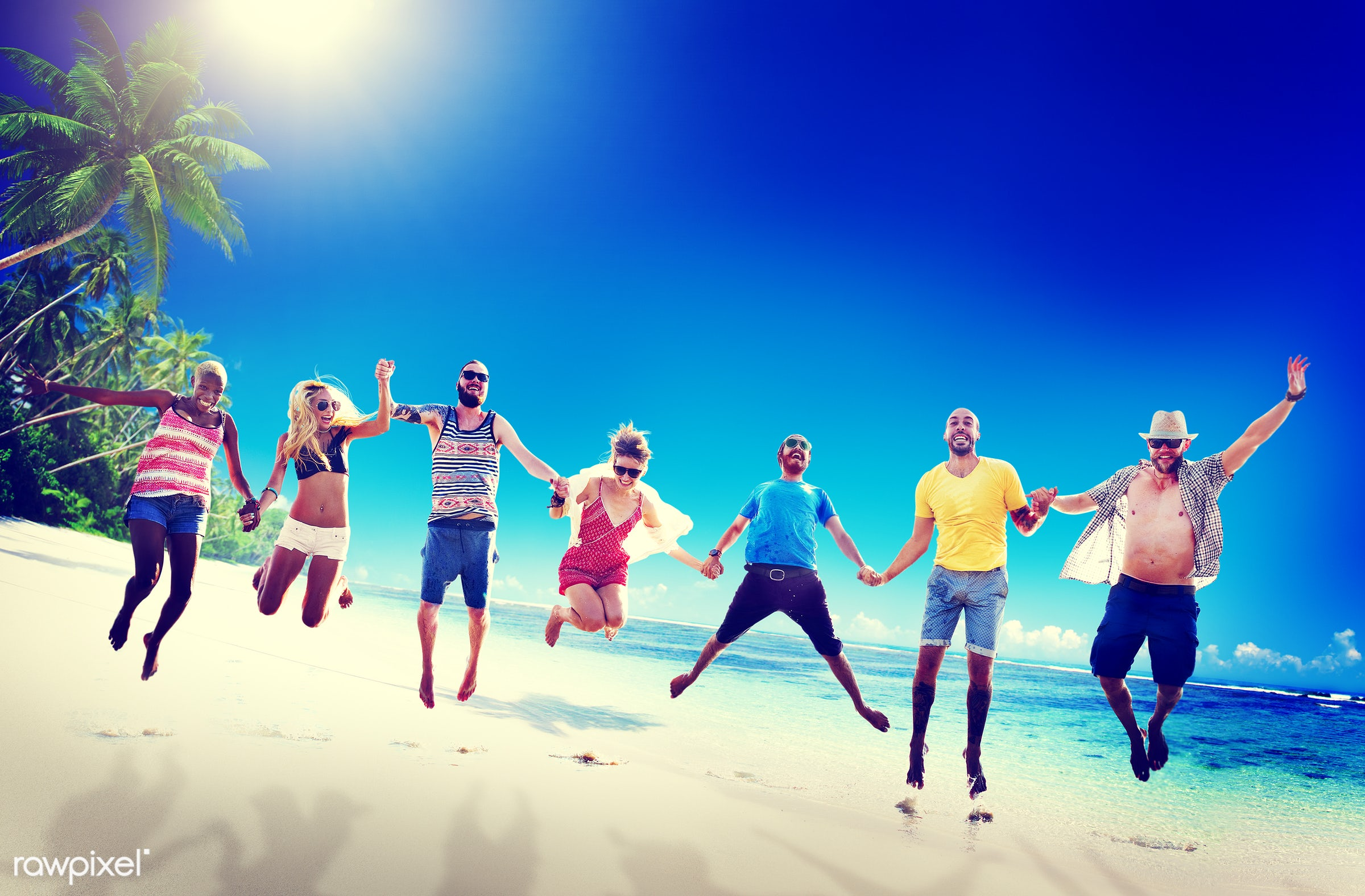 action, african descent, asian ethnicity, beach, bonding, cheerful, chilling, colorful, day, diverse, diversity, ecstatic,...