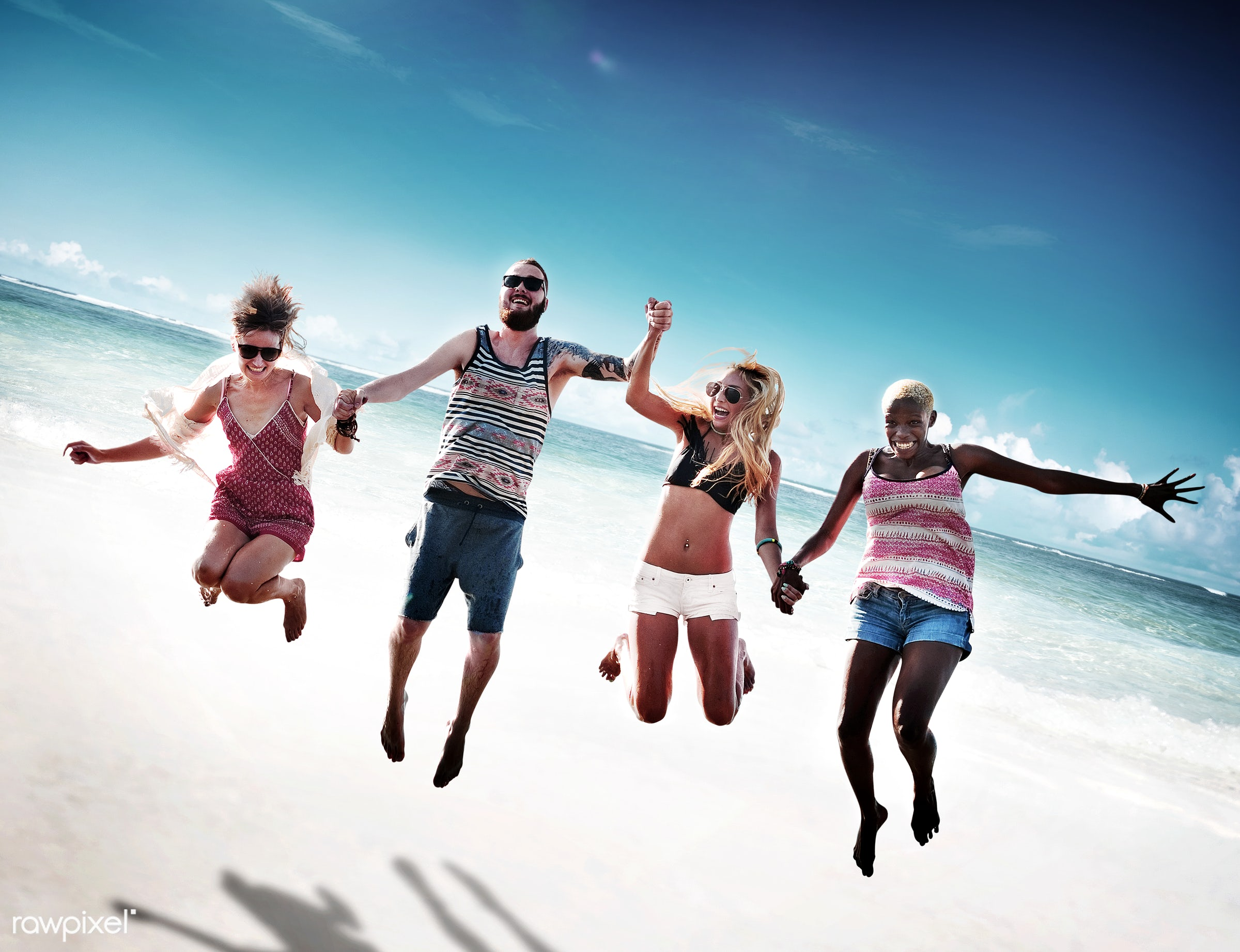 jumping, action, african descent, asian ethnicity, beach, bonding, cheerful, chilling, colorful, day, diverse, diversity,...