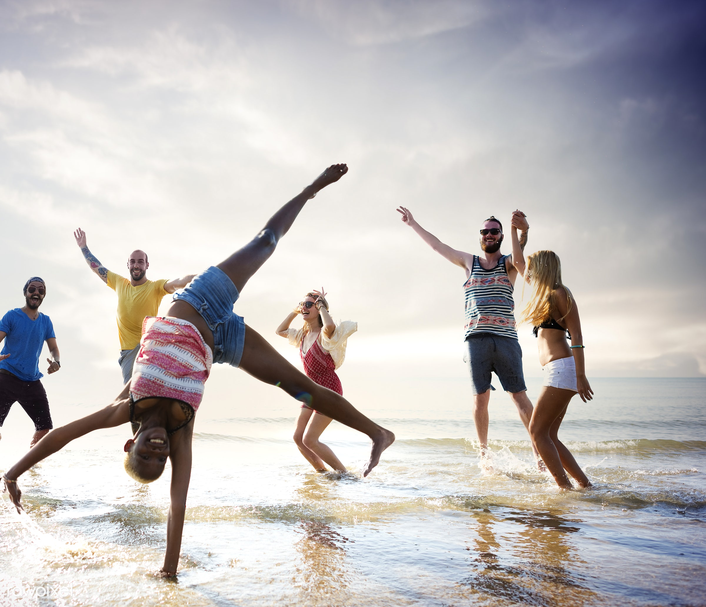 action, african descent, arms raised, beach, bonding, celebration, cheerful, chilling, dancing, diverse, dusk, ecstatic,...