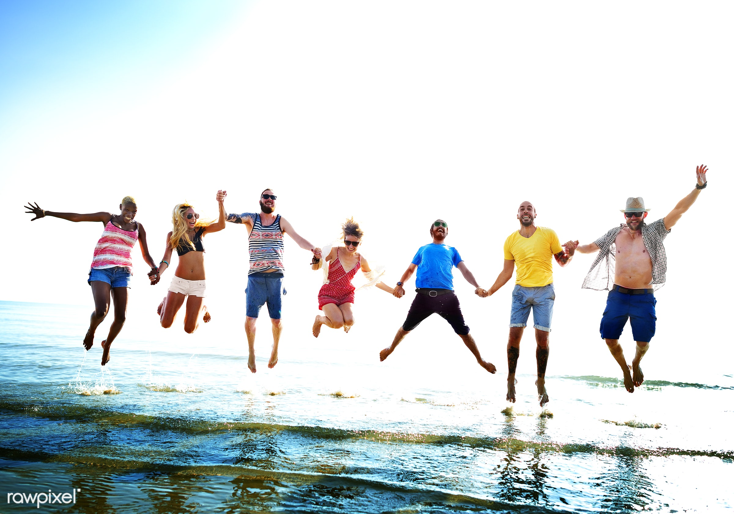action, african descent, beach, bonding, cheerful, colorful, day, diverse, ecstatic, energy, enjoying, ethnicity, friends,...