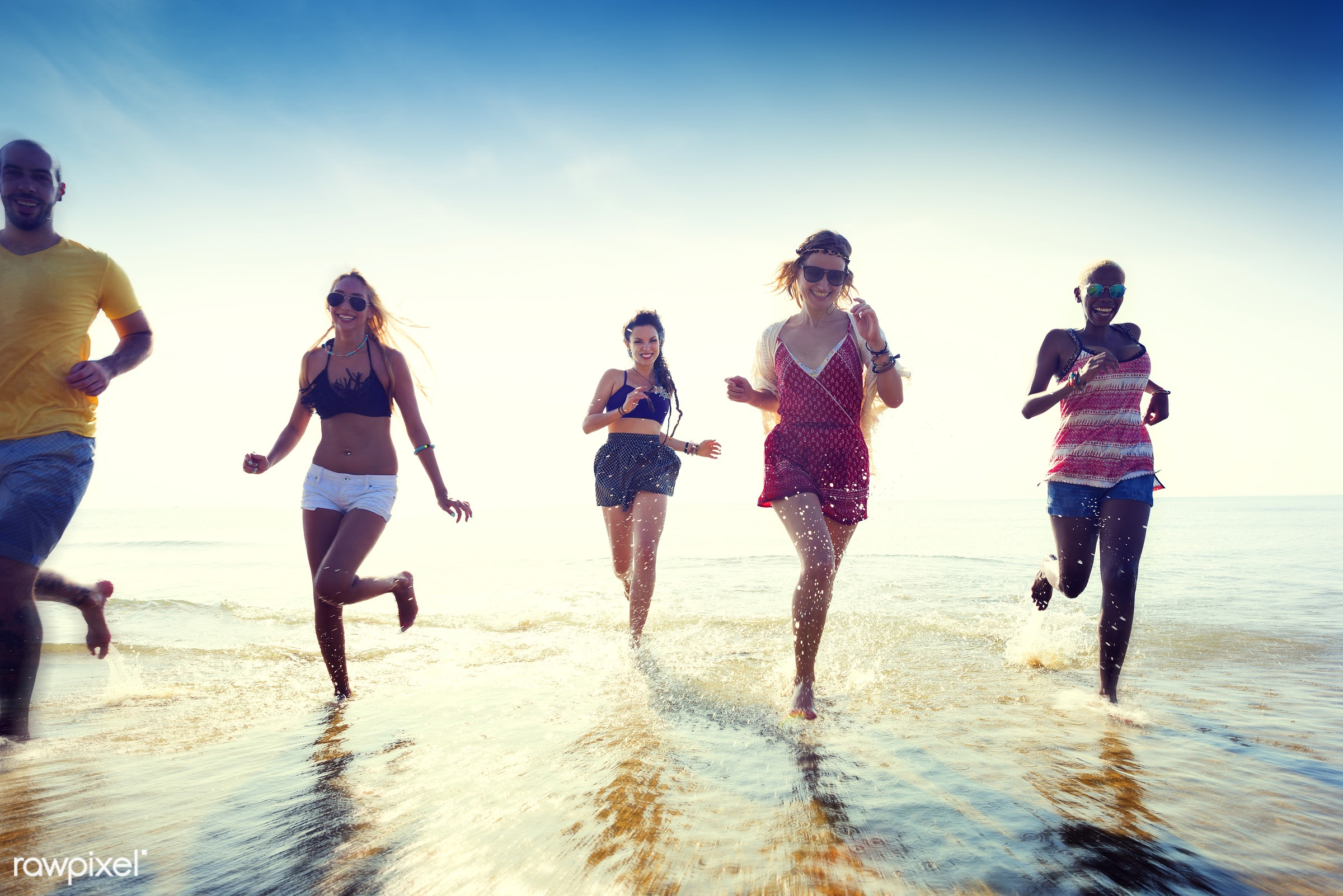 action, african descent, asian ethnicity, beach, bonding, cheerful, chilling, day, diverse, ecstatic, energy, enjoying,...