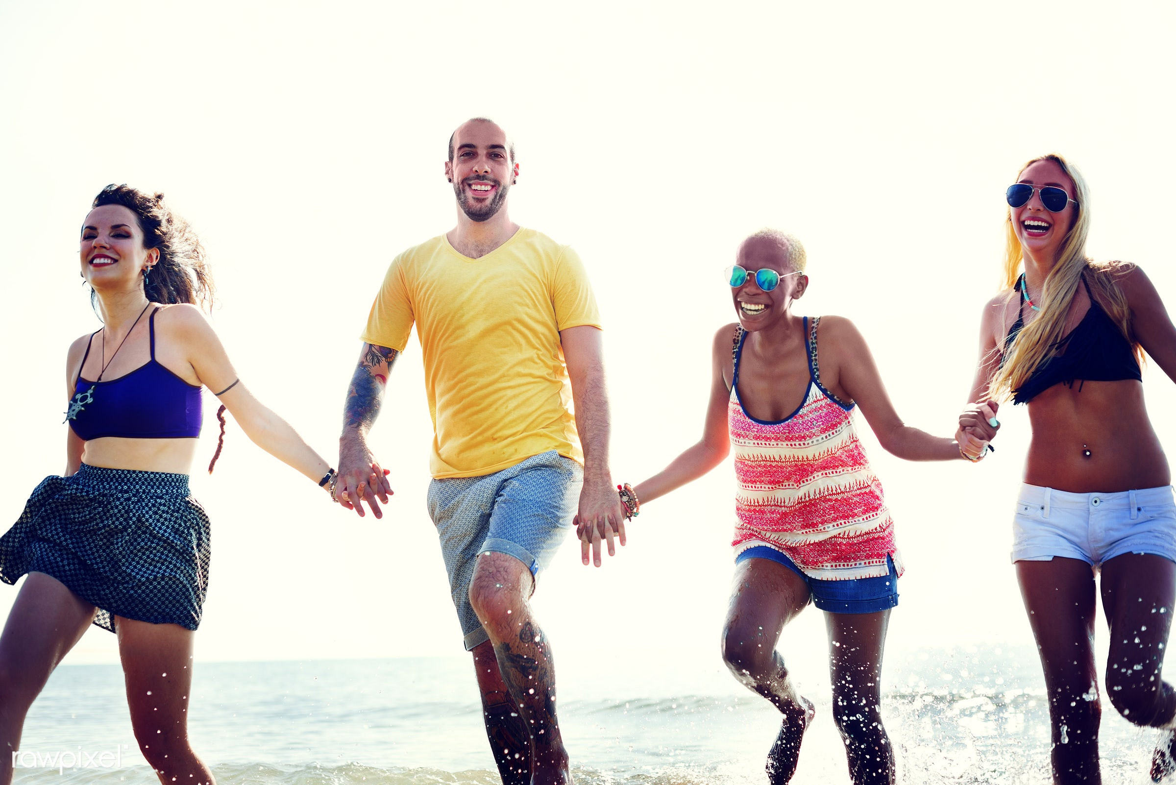action, african descent, beach, bonding, cheerful, colorful, day, diverse, ecstatic, energy, enjoying, ethnicity, fashion,...