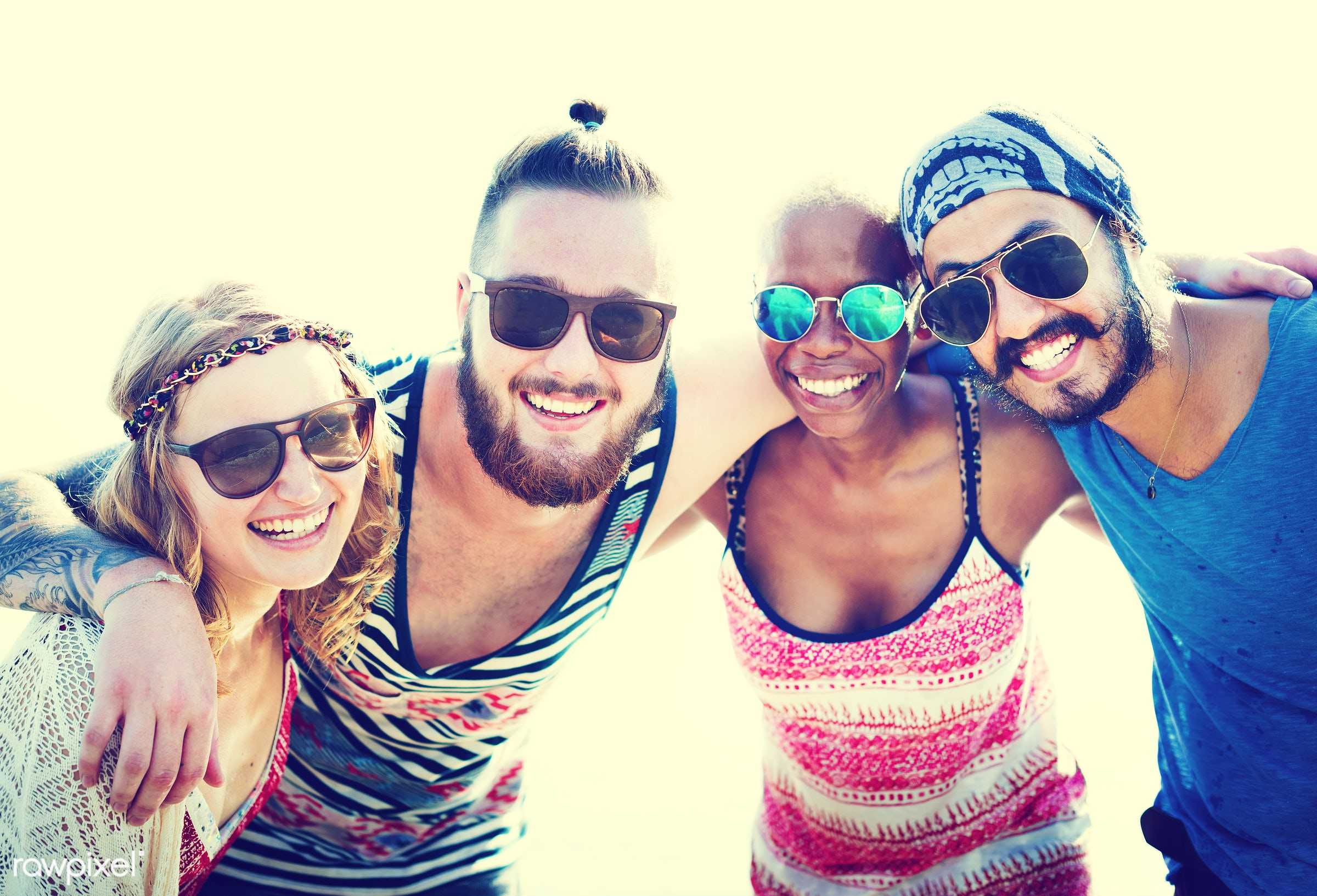 african, african descent, beach, beautiful, bonding, bright, casual, cheerful, close up, colorful, day, diverse, enjoyment,...
