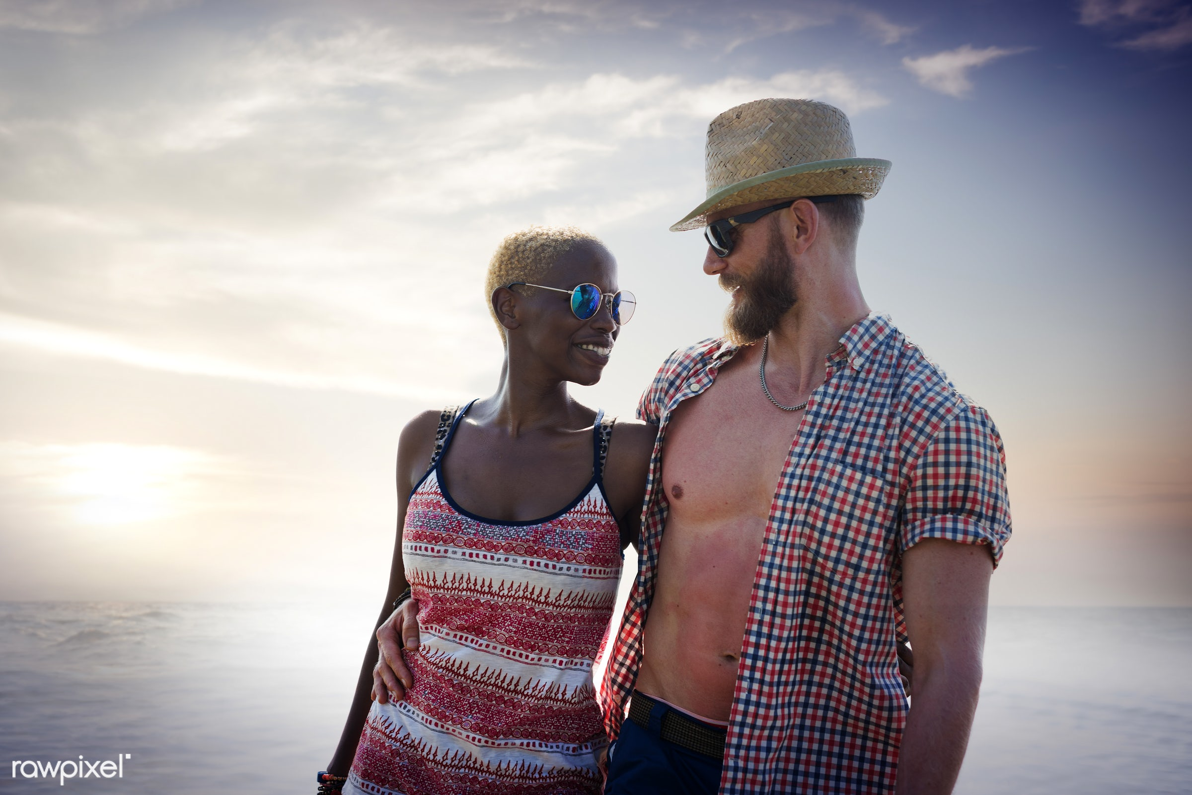 couple, bonding, horizon, ocean, smiling, summer, african descent, arm around, beach, boyfriend, cheerful, chilling,...