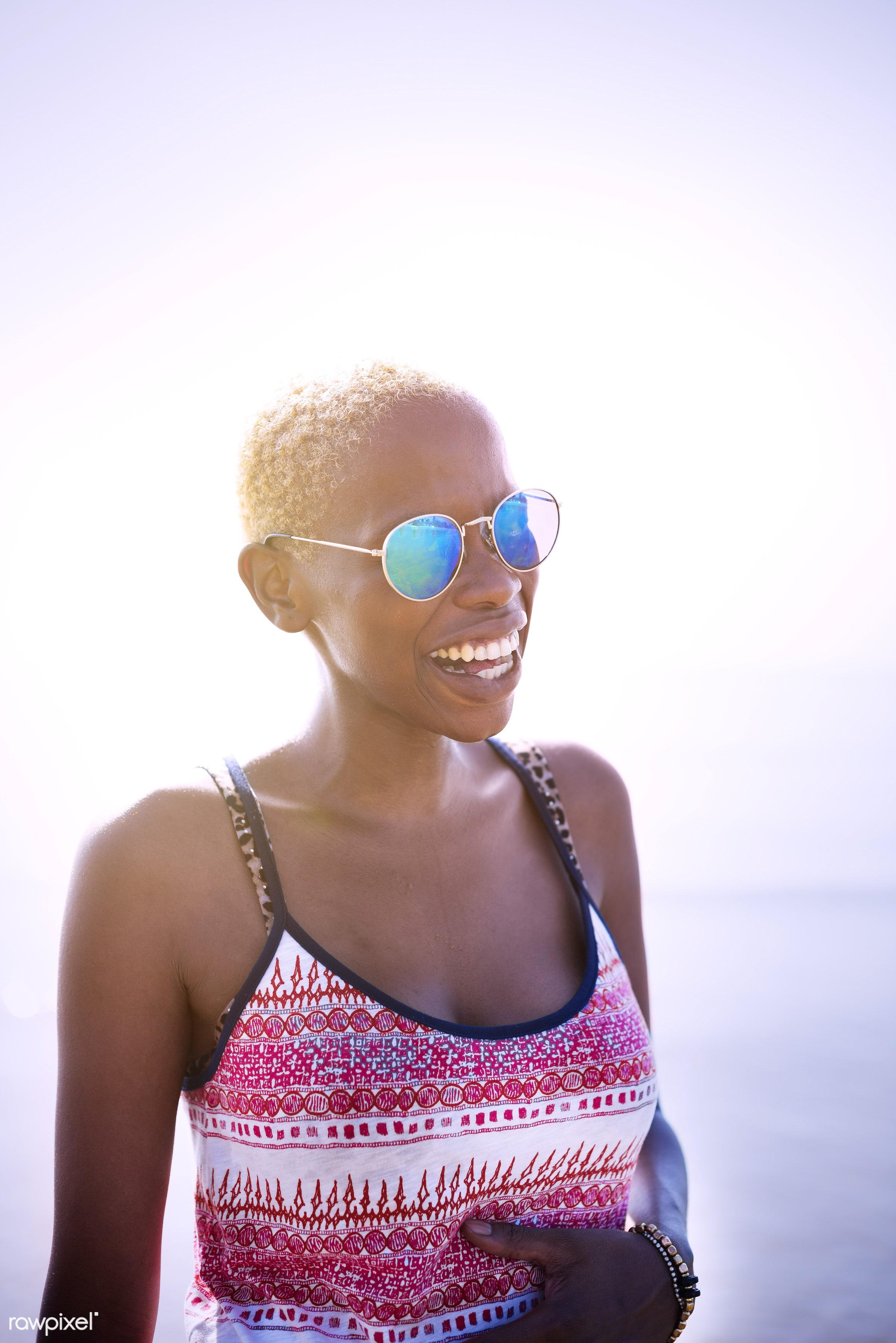 african descent, african, beach, beauty, boy cut, bright, cheerful, day, ecstatic, enjoying, ethnicity, happy, hot, lady,...