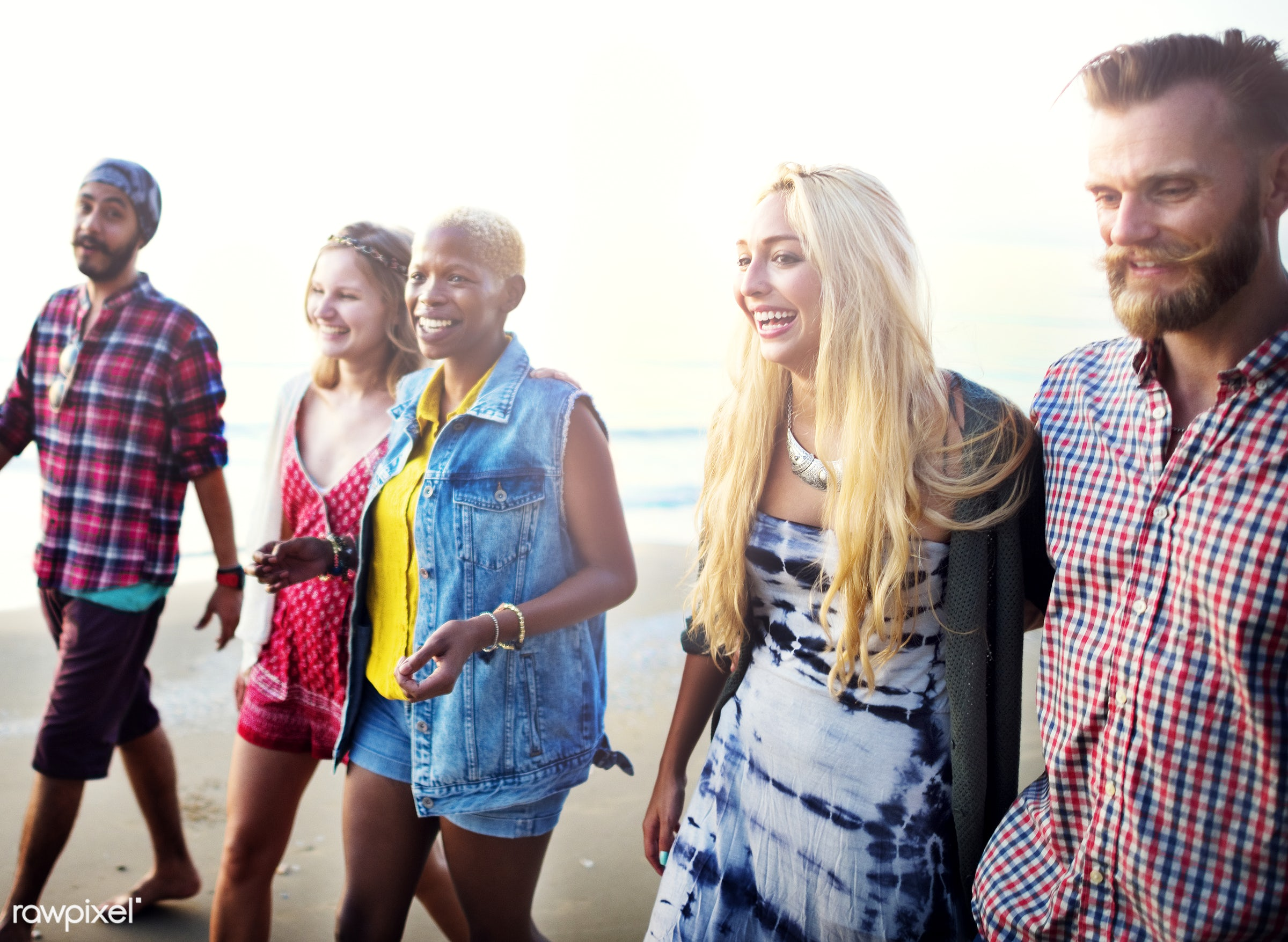 african, african descent, beach, beautiful, bonding, bright, casual, cheerful, chilling, colorful, day, diverse, enjoyment,...