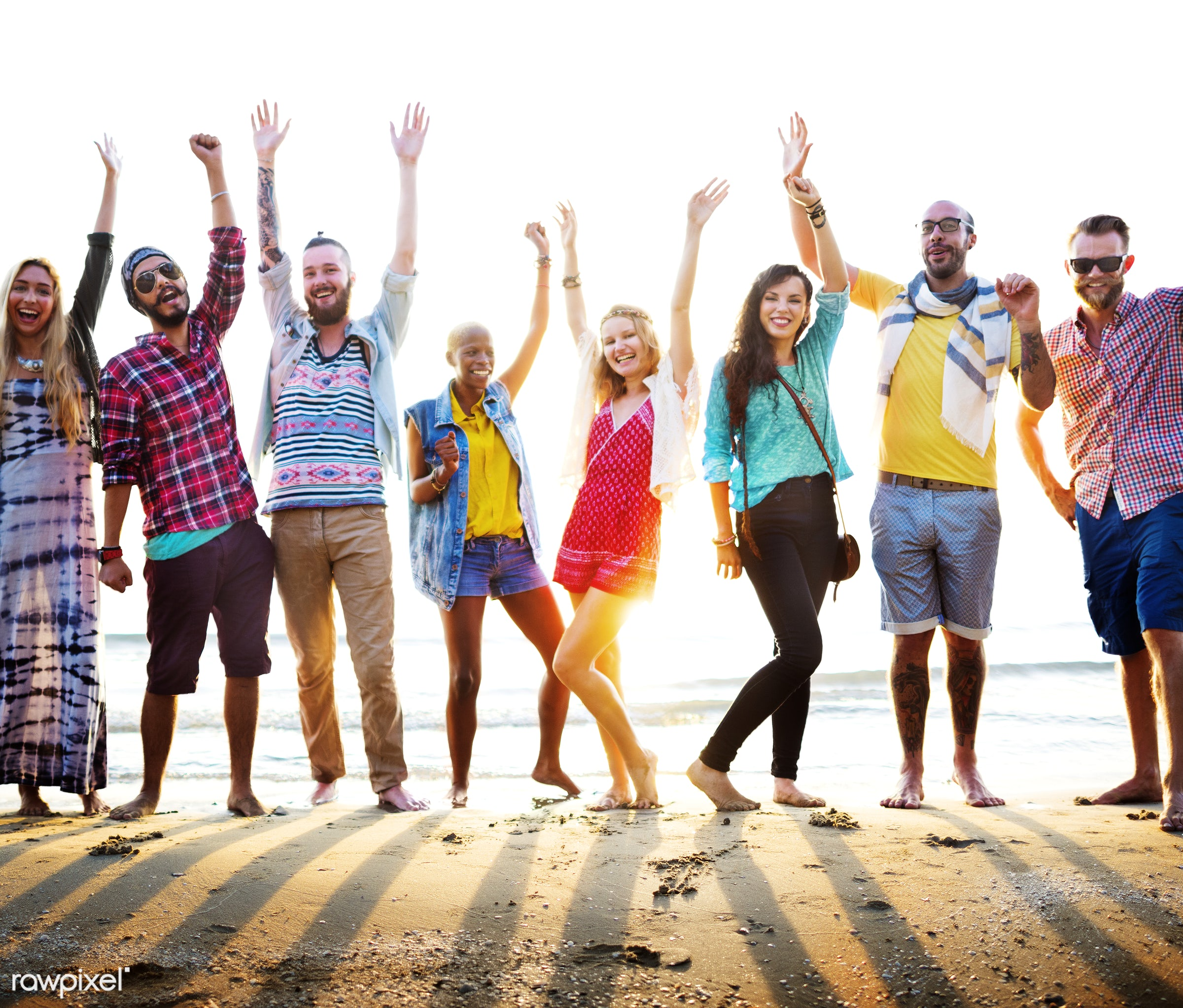 action, activity, adult, african descent, arms raised, beach, beach party, casual, celebration, cheerful, community, crowd,...