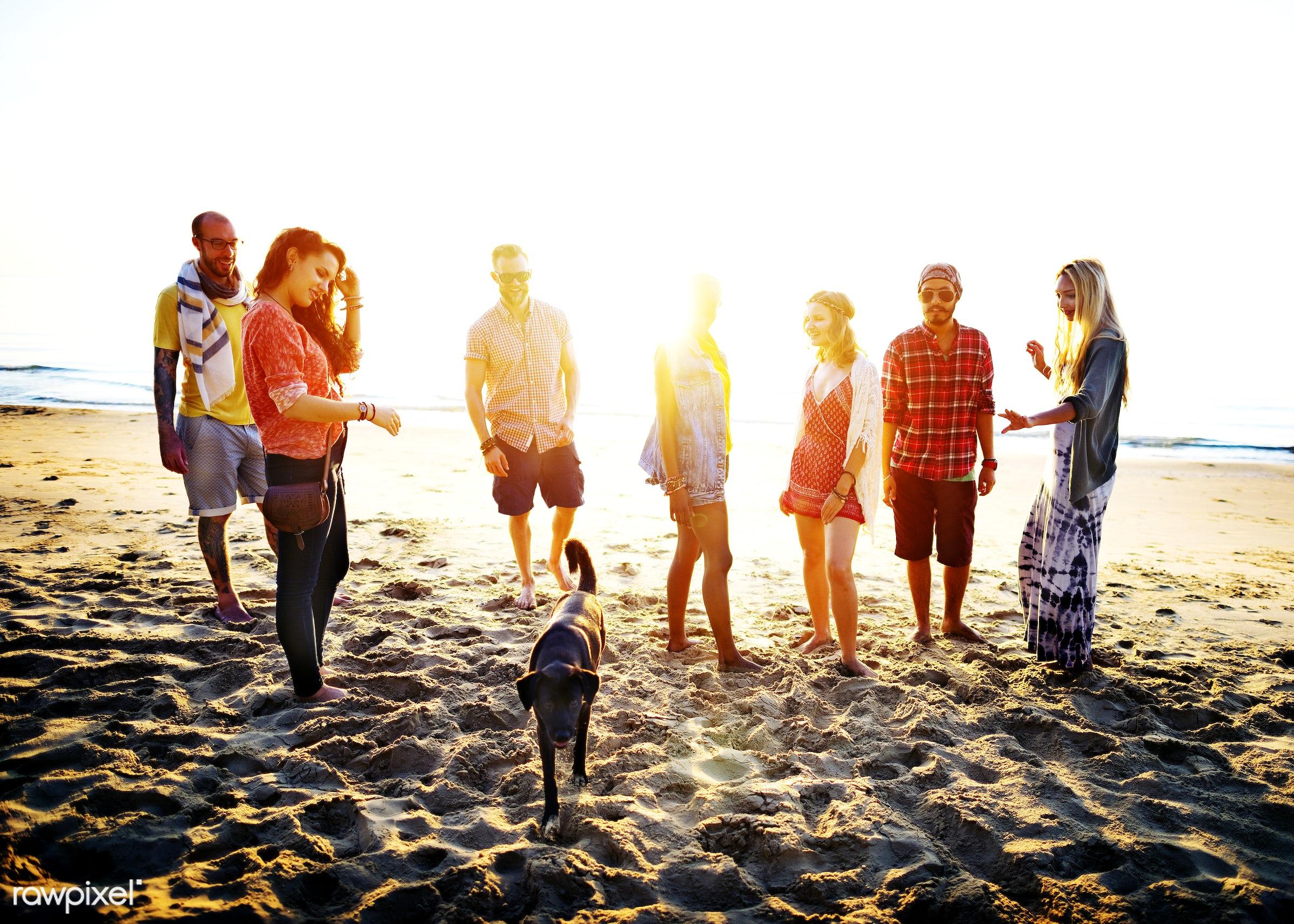 Friends having fun at the beach - sun, fashion, beach, friendship, african descent, bonding, bright, cheerful, close,...