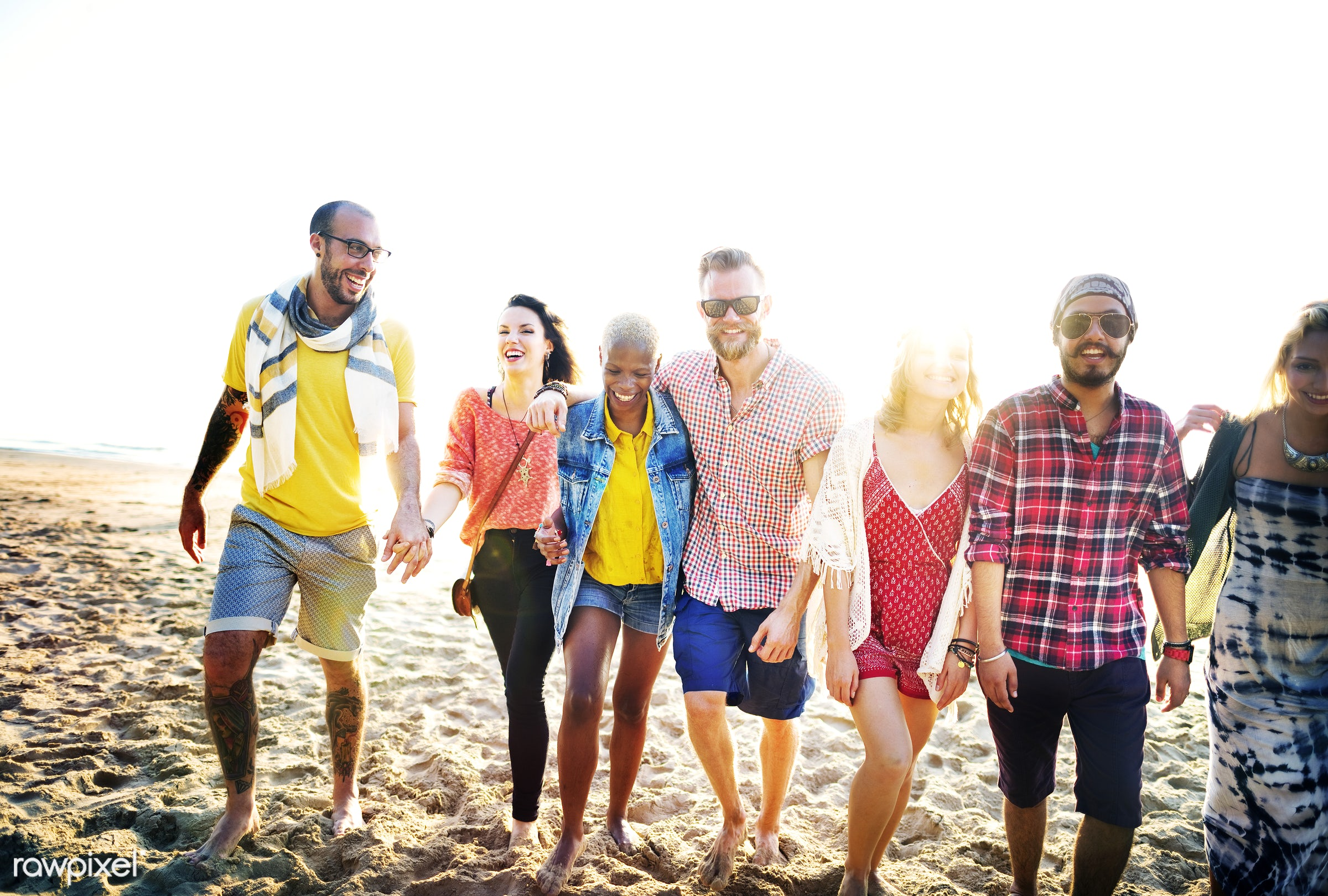 african descent, beach, bonding, bright, cheerful, close, colorful, connection, day, diverse, enjoying, ethnicity, fashion,...