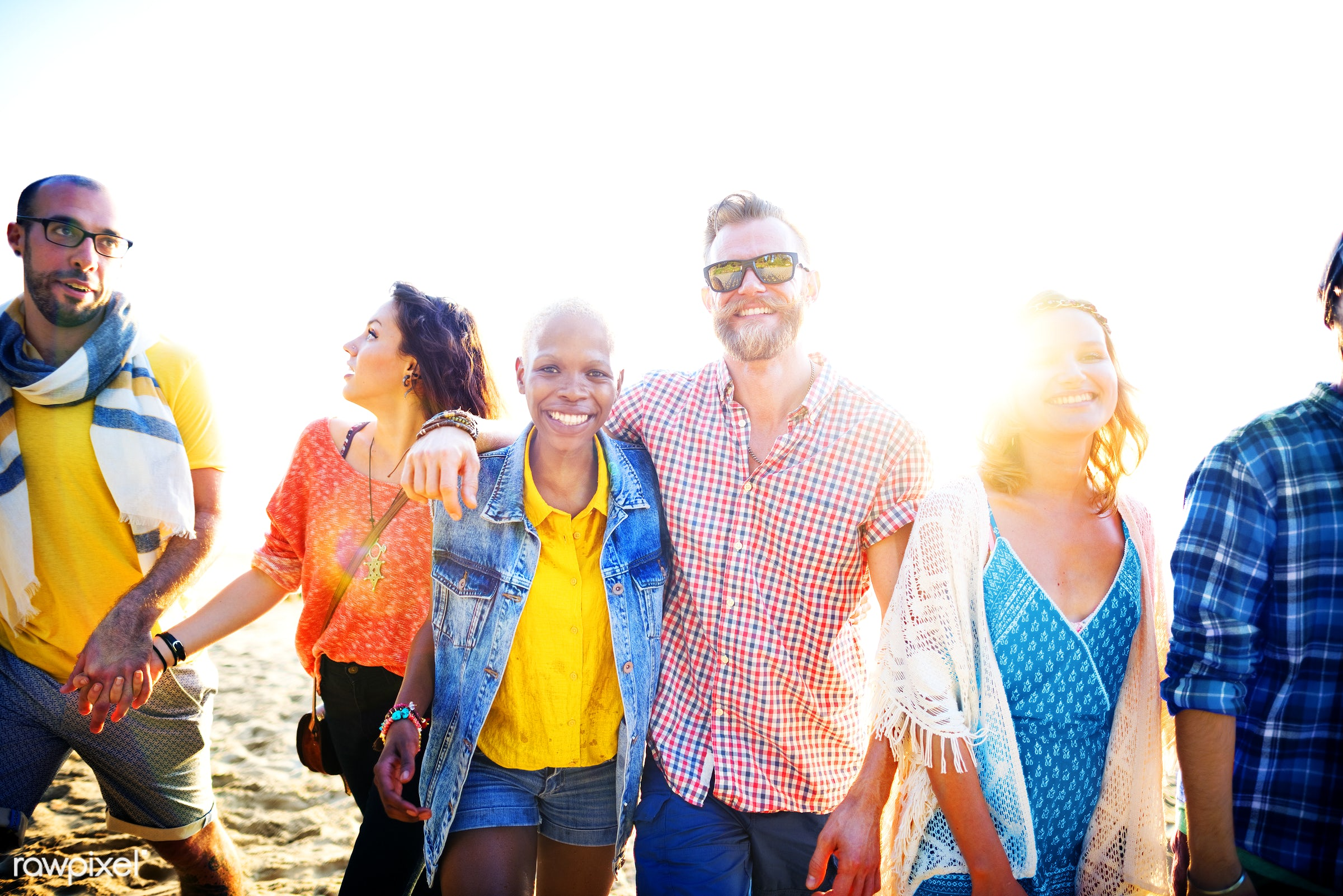 african, african descent, arm around, beach, beautiful, bonding, bright, casual, cheerful, chilling, colorful, day, diverse...