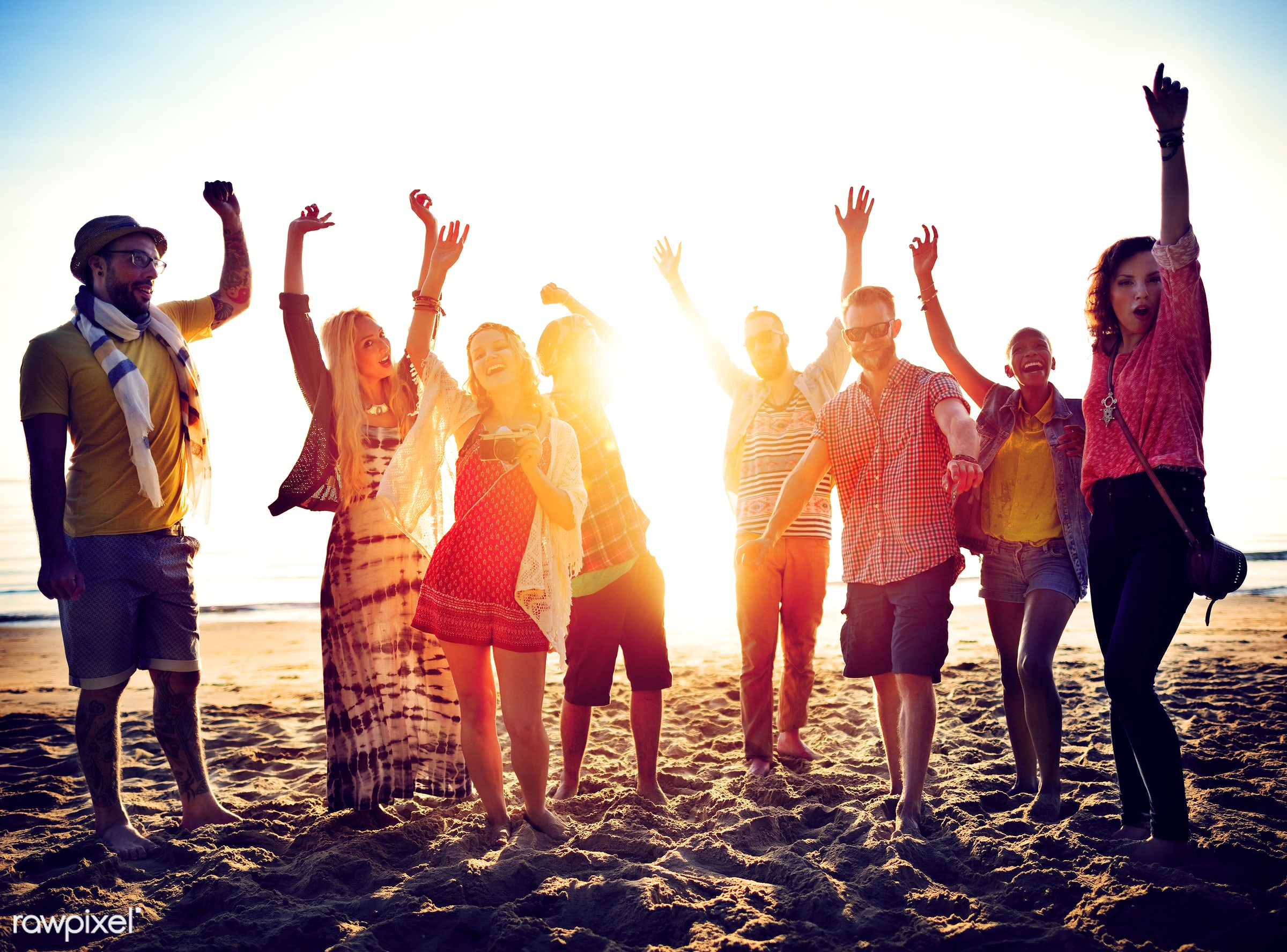 Friends having fun at the beach - beach, action, activity, adult, african descent, arms raised, beach party, casual,...