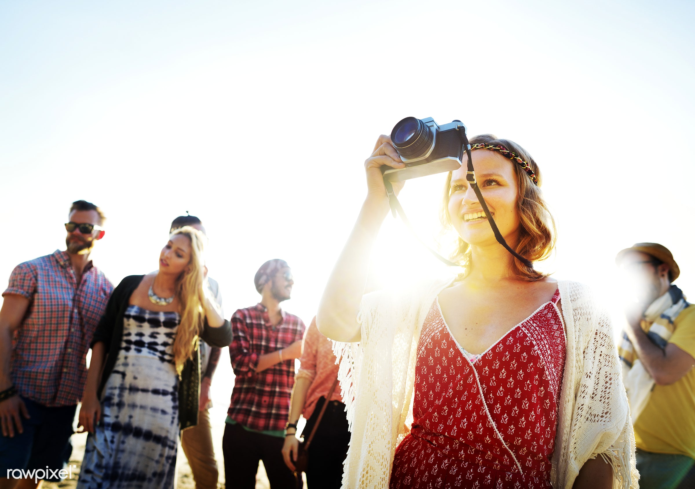 Friends having fun at the beach - camera, hanging out, photographer, beach, bonding, bright, casual, cheerful, colorful, day...