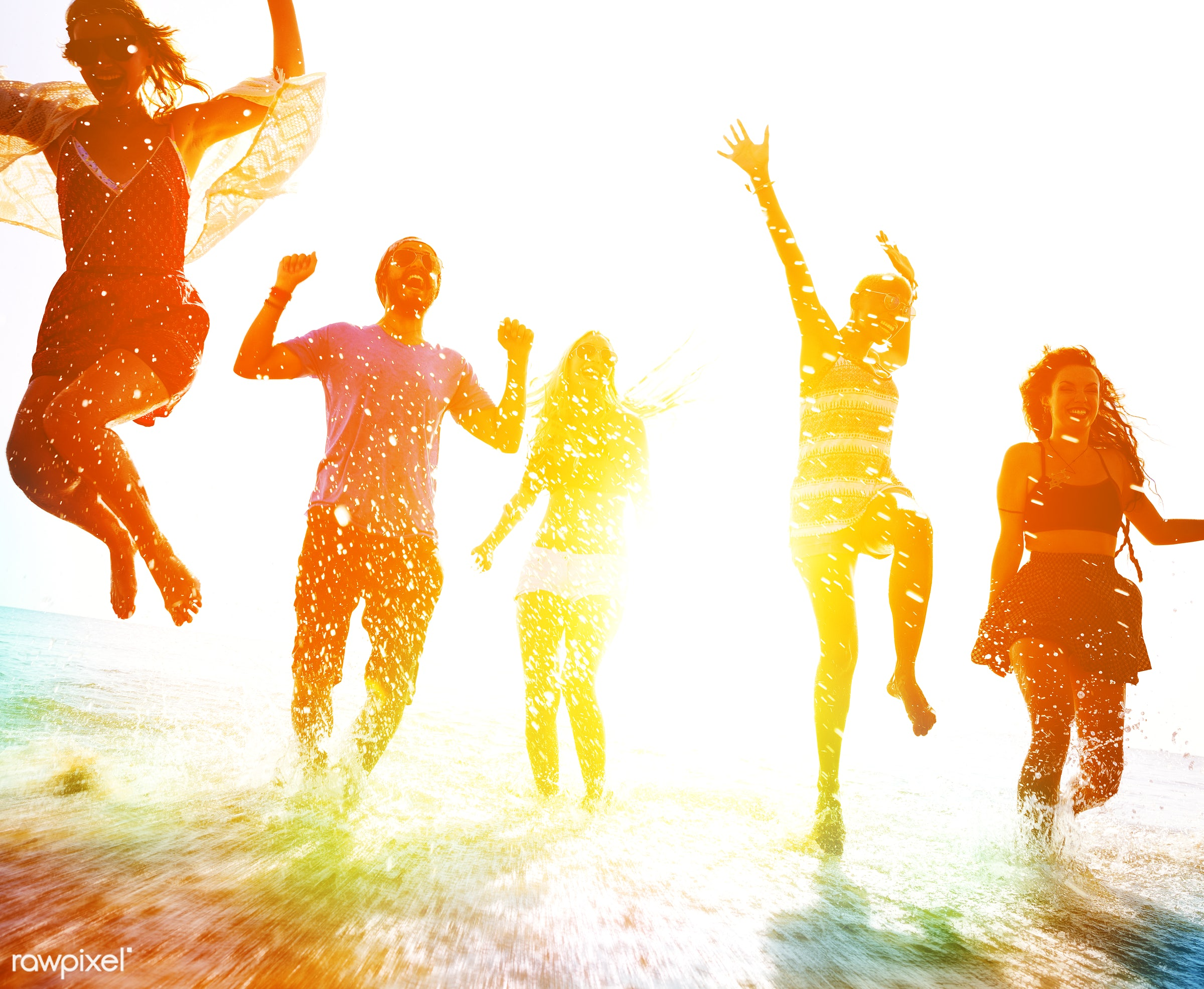 dusk, action, african descent, arms raised, backlit, beach, blurred, bonding, celebration, cheerful, chilling, ecstatic,...