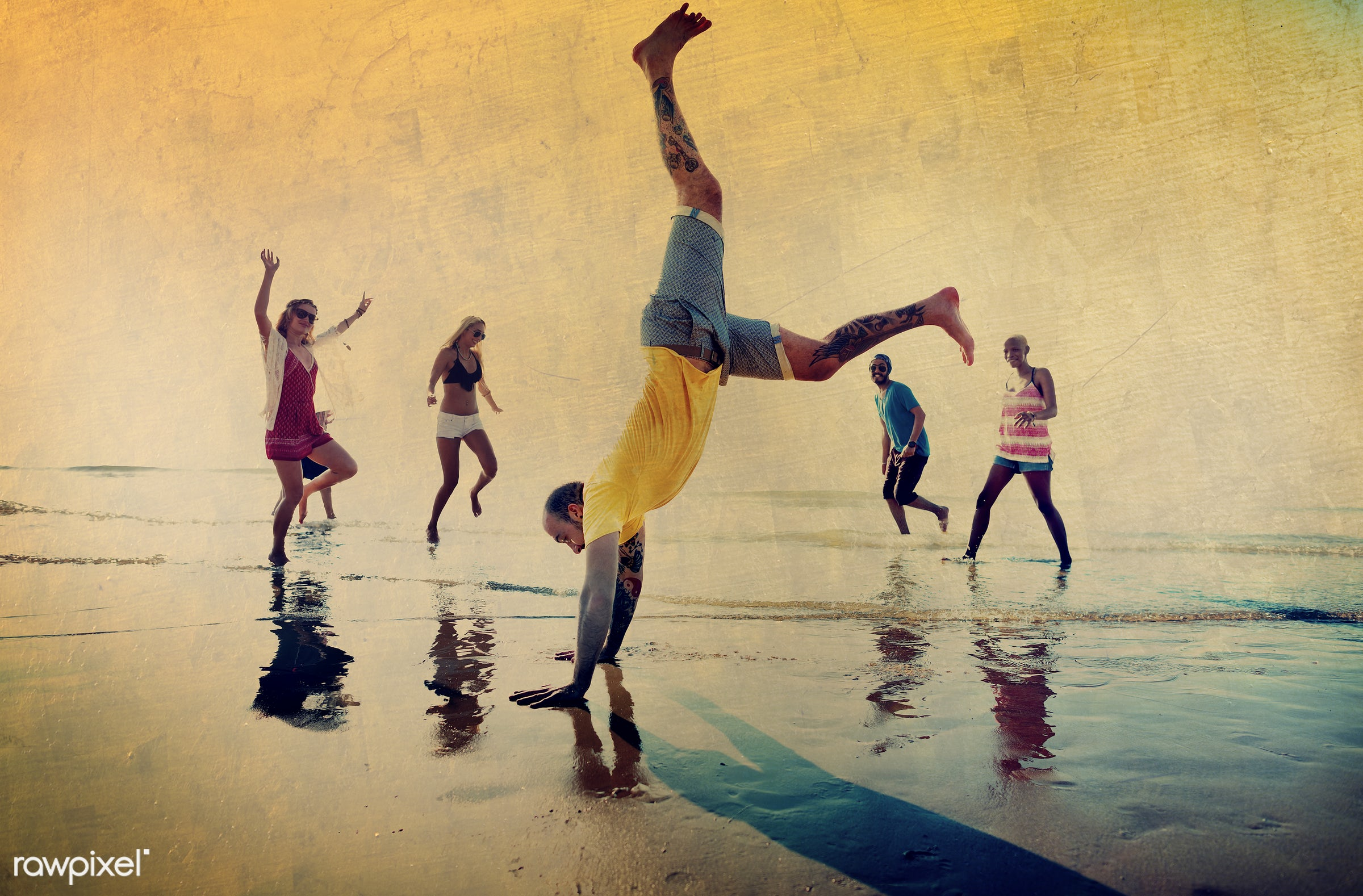 dancing, action, african descent, arms raised, beach, bonding, celebration, cheerful, chilling, diverse, dusk, ecstatic,...