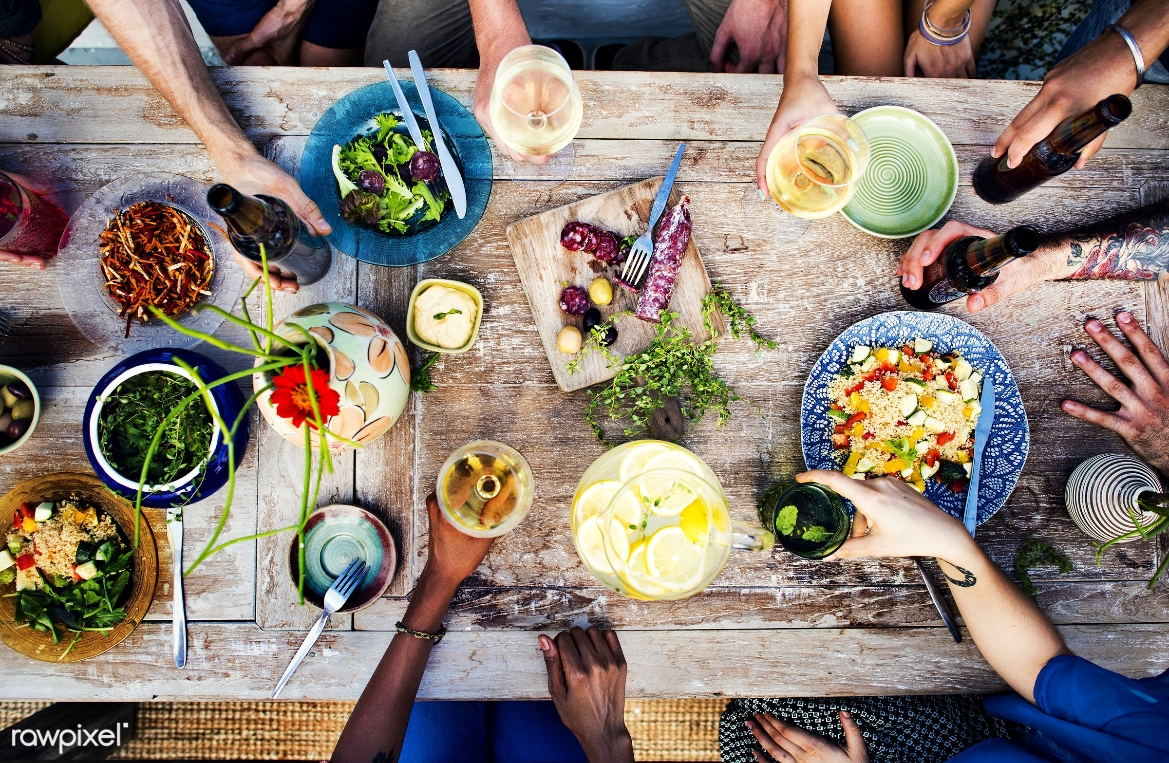 Friends having a summer party - salad, meal, beer, cook, colorful, aerial view, allspice, beverage, bowl, champagne, color,...