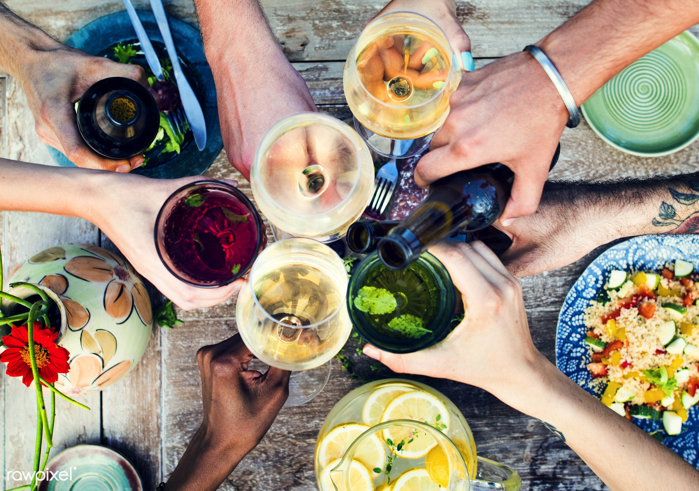 Summer party with food and drinks - beer, aerial view, allspice, beverage, bowl, champagne, cheers, color, colorful, cook,...