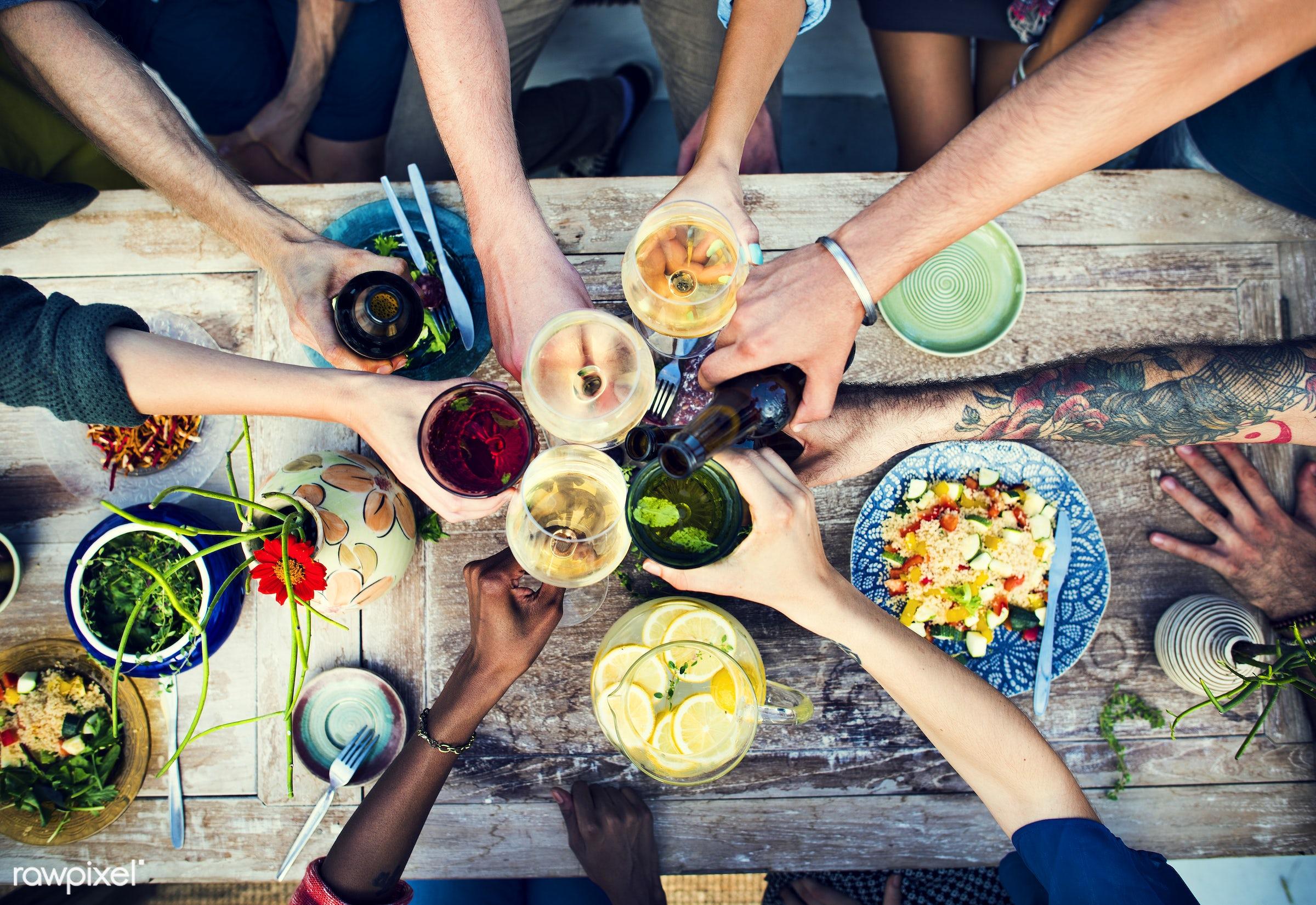 Friends having a summer party - beer, wine, appetite, arrangement, beverage, cater, celebration, cheering, cheers, cuisine,...