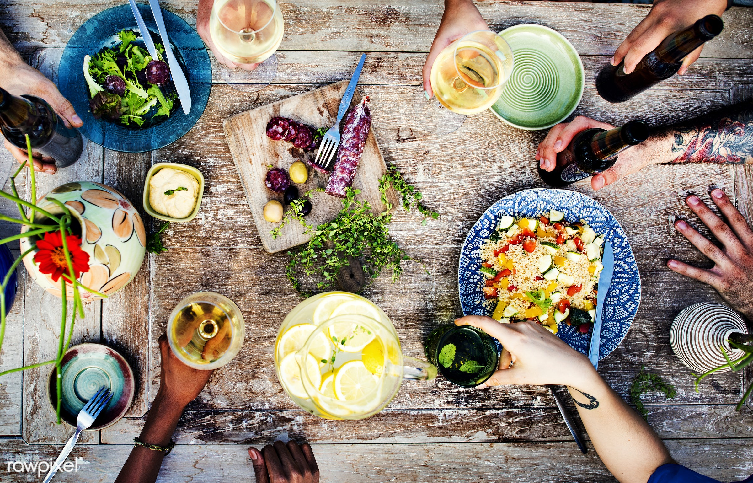 Summer party with food and drinks - kitchen, aerial view, allspice, beer, beverage, bowl, champagne, color, colorful, cook,...