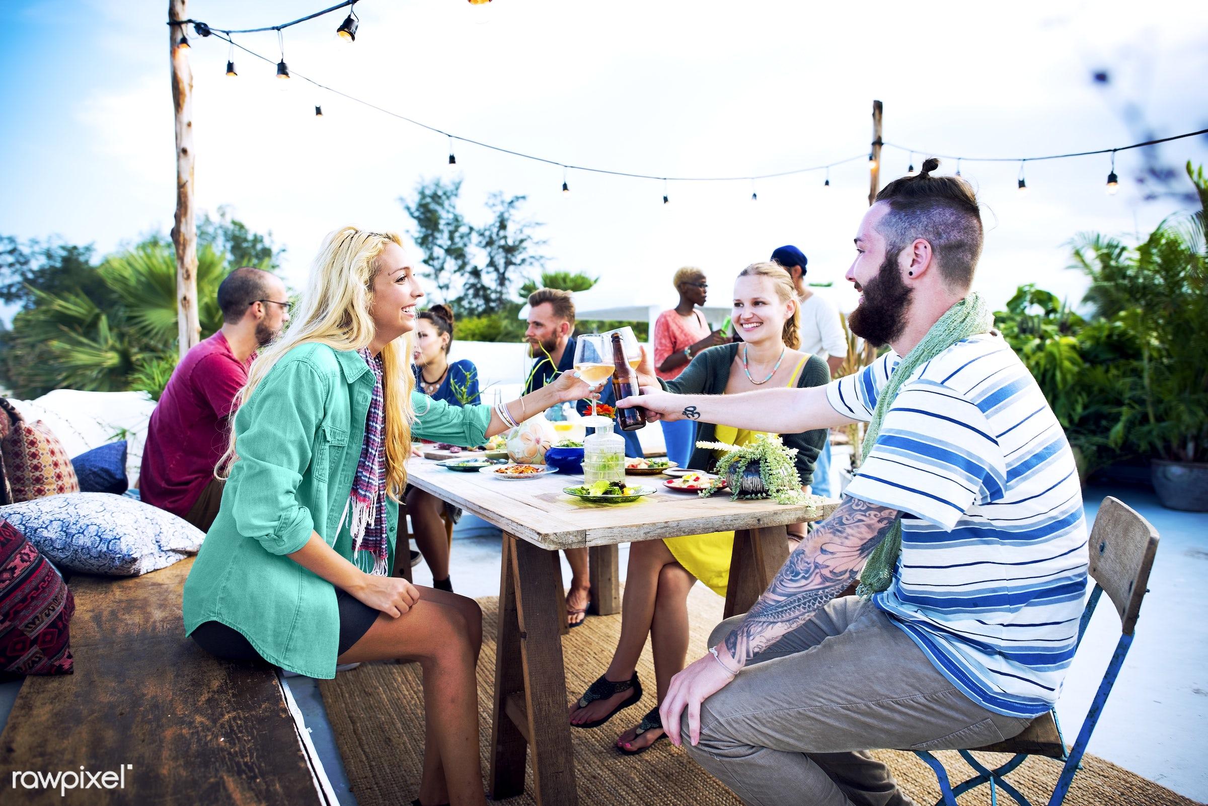 african descent, beach, beer, beverage, casual, celebration, cheers, community, conversation, dinner, drink, drinking,...