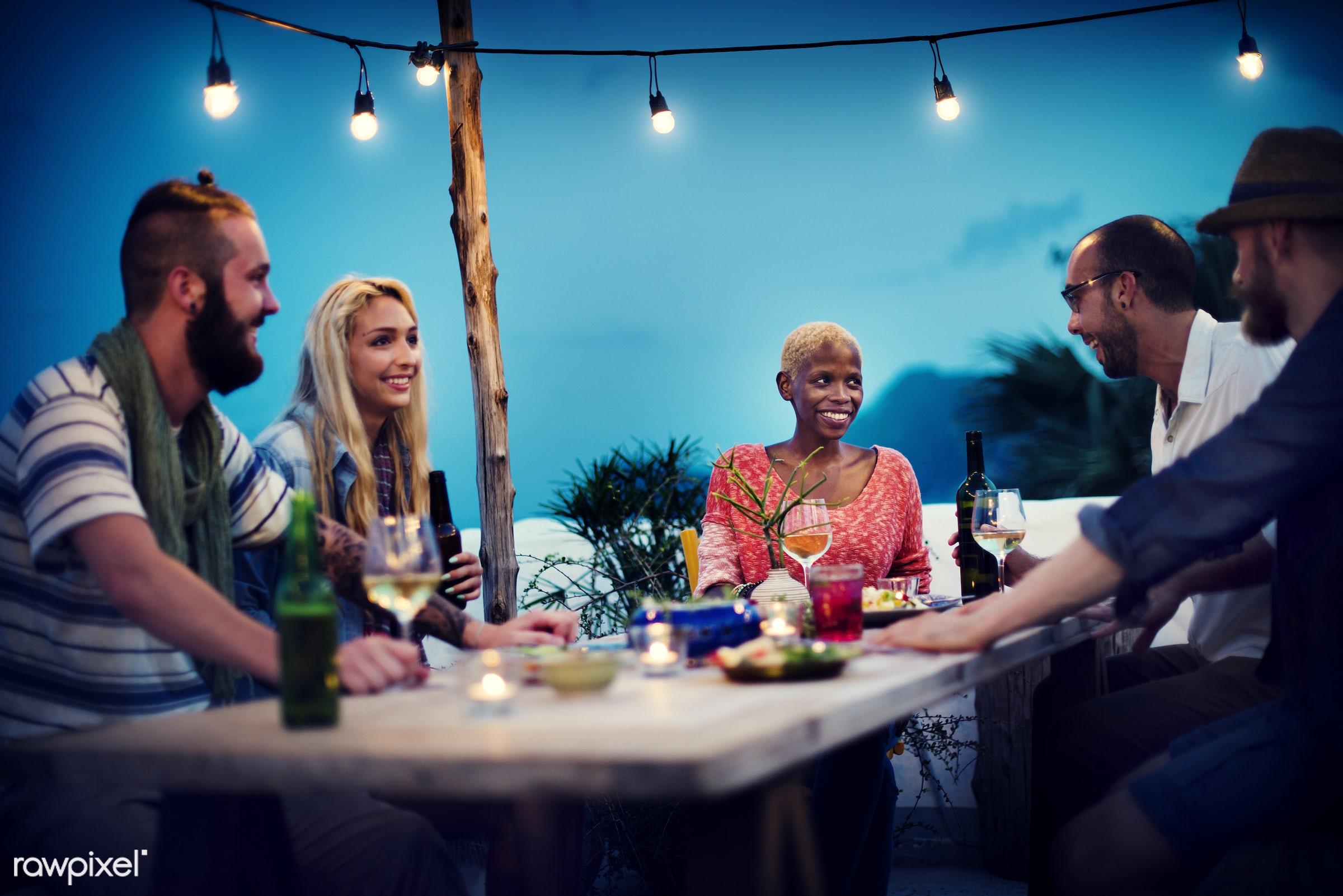 african descent, beach, beer, beverage, casual, celebration, community, conversation, dinner, drink, drinking, eating, food...
