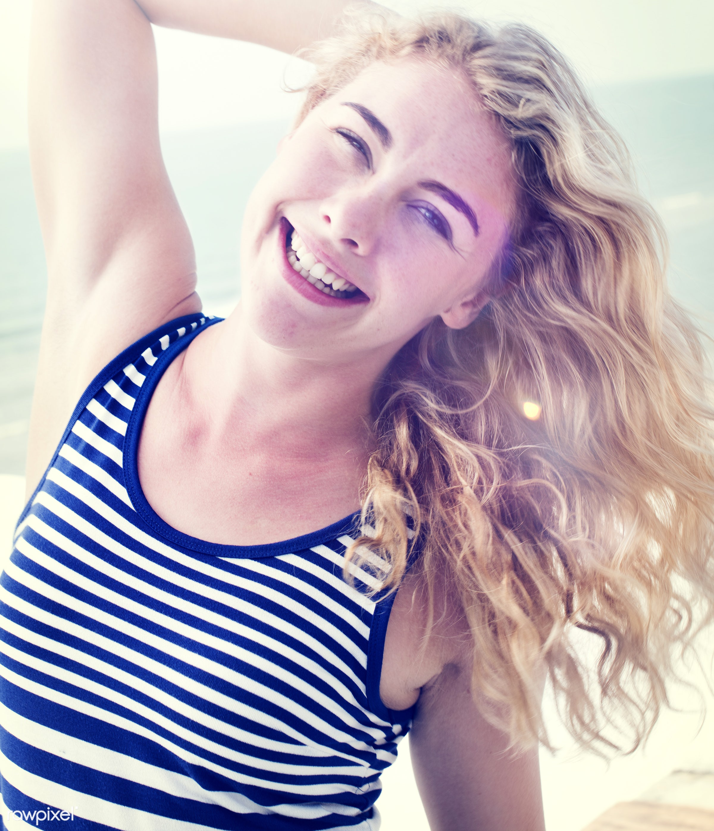 pretty, relax, art, attractive, beach, beautiful, casual, caucasian, cheerful, closeup, color, colorful, cool, enjoying,...