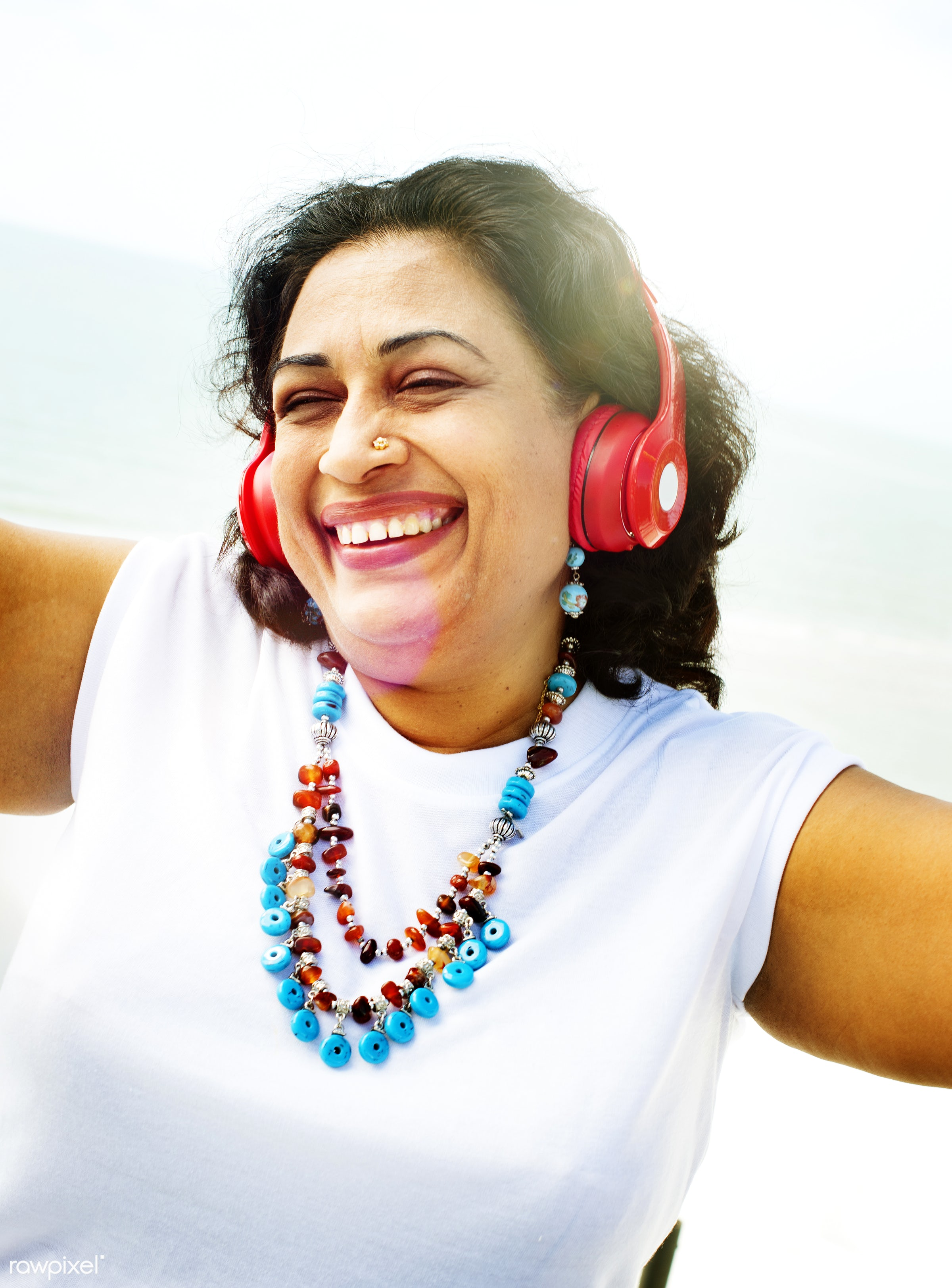 art, attractive, cheerful, closeup, color, colorful, cool, earphones, enjoying, enjoyment, ethnicity, face, fashion, female...
