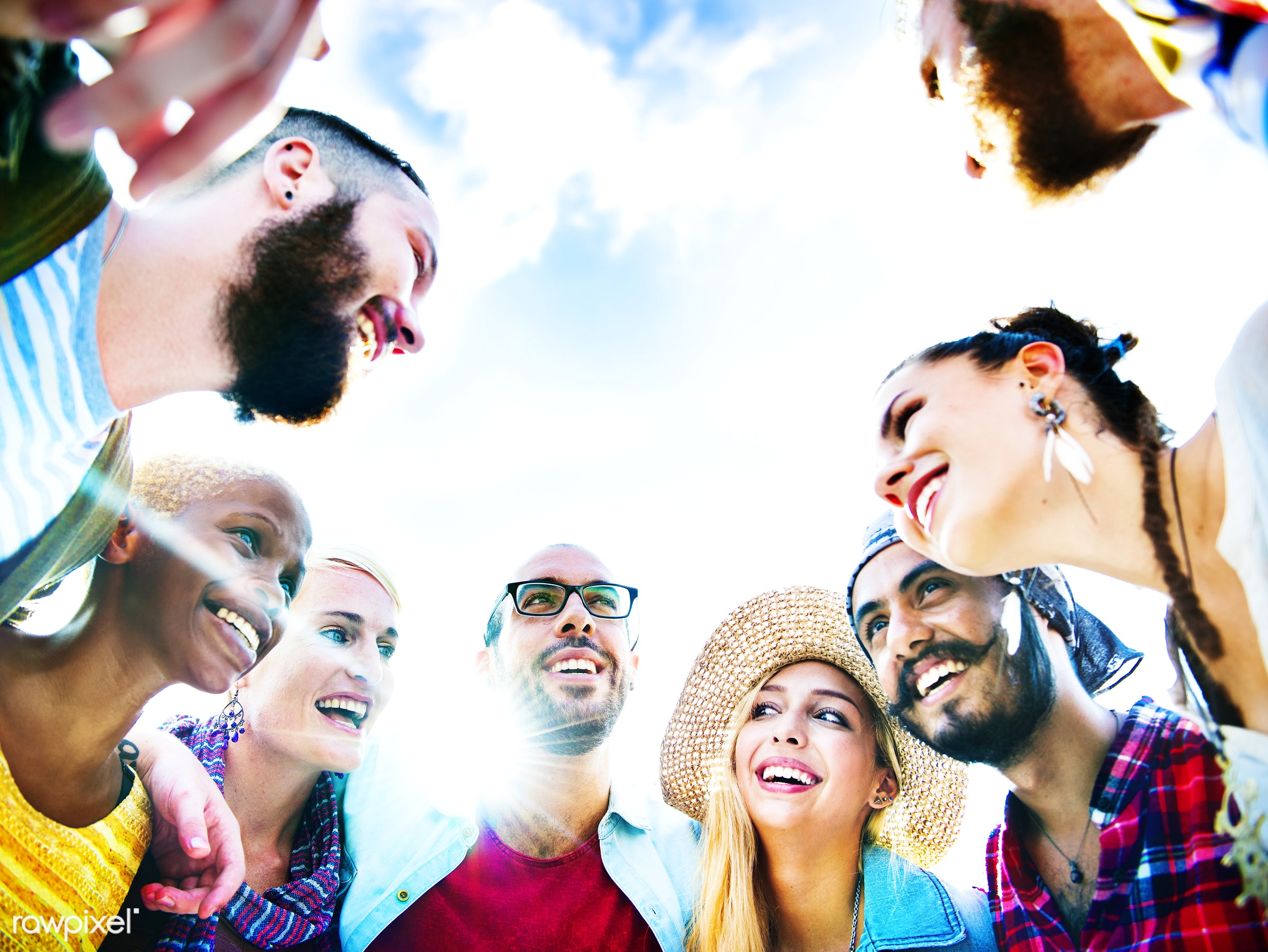 Group of happy friends - activity, african descent, celebration, cheerful, community, diverse, diversity, enjoyment, event,...