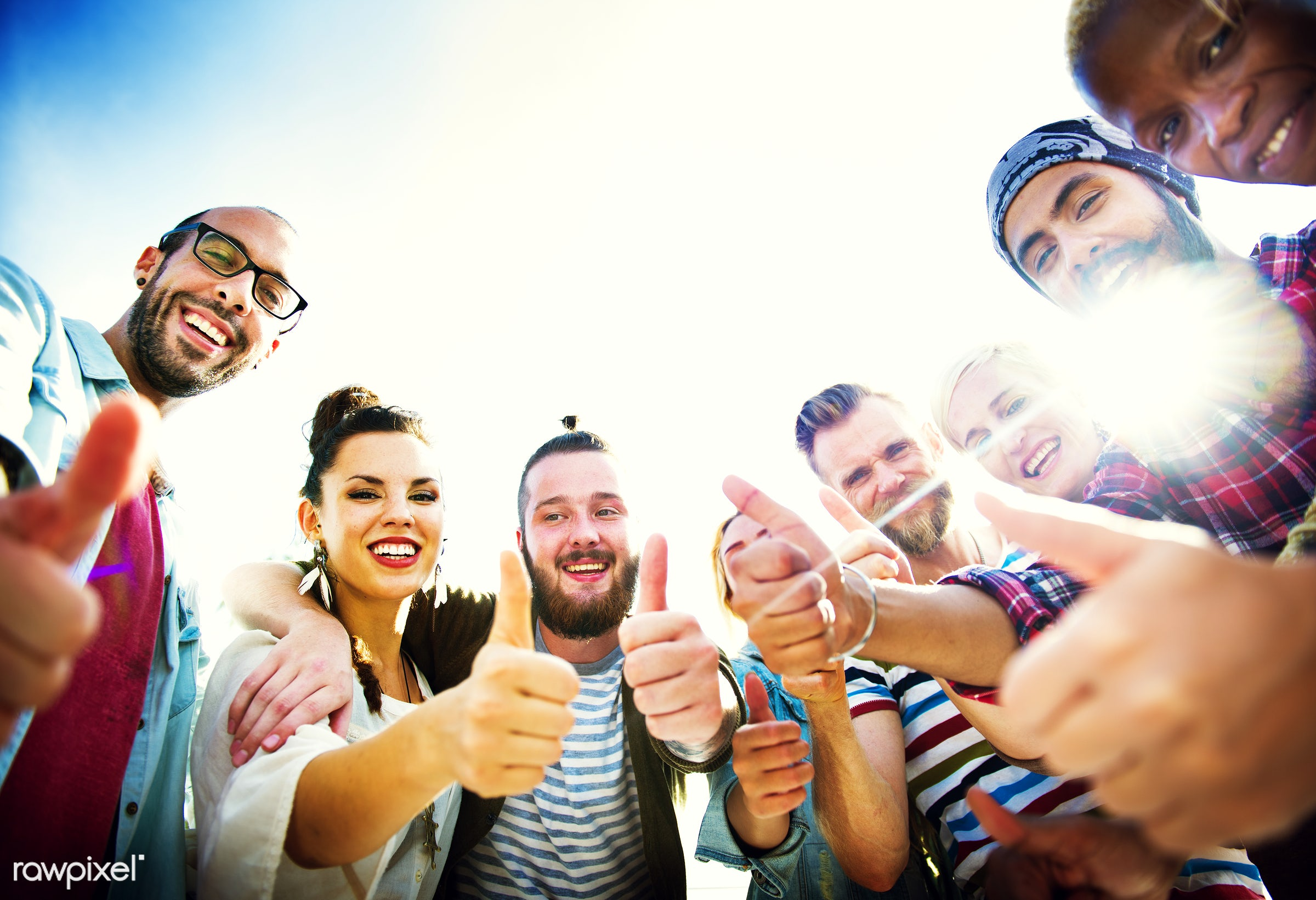 Group of happy friends - beach, casual, celebration, cheerful, cheers, diverse, diversity, enjoying, event, friends,...