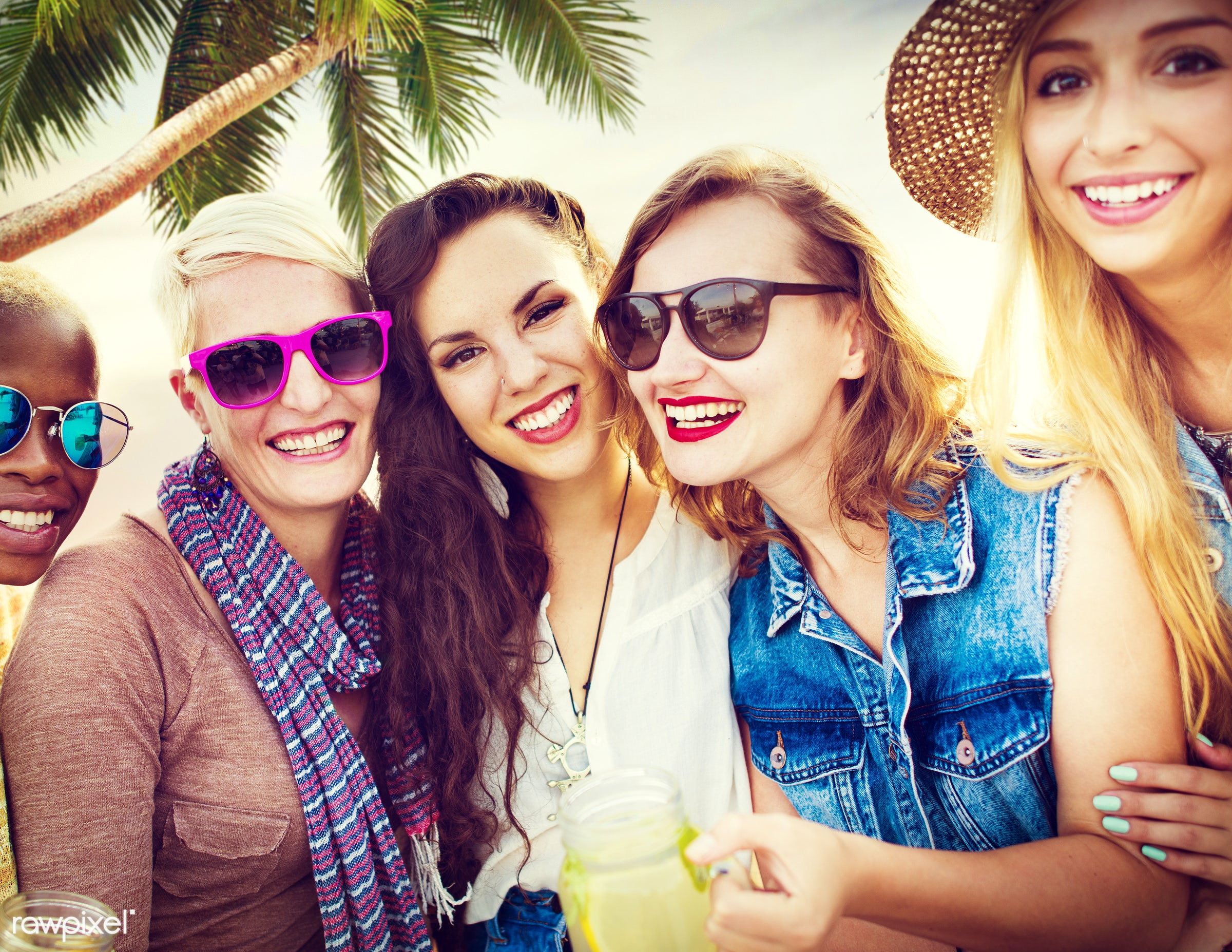 Happy group of friends - beach, beautiful, bonding, casual, cheerful, chilling, colorful, day, diverse, diversity, drinking...
