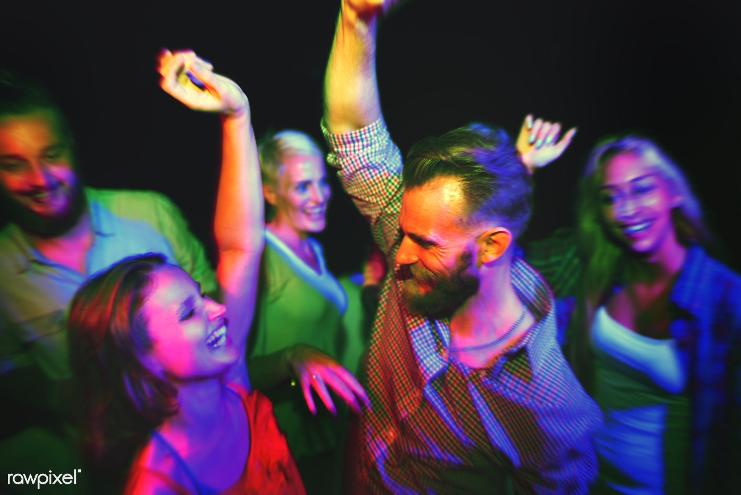 Friends dancing at a summer party - music, event, dance, party, night, clubbing, bonding, casual, celebration, cheerful,...