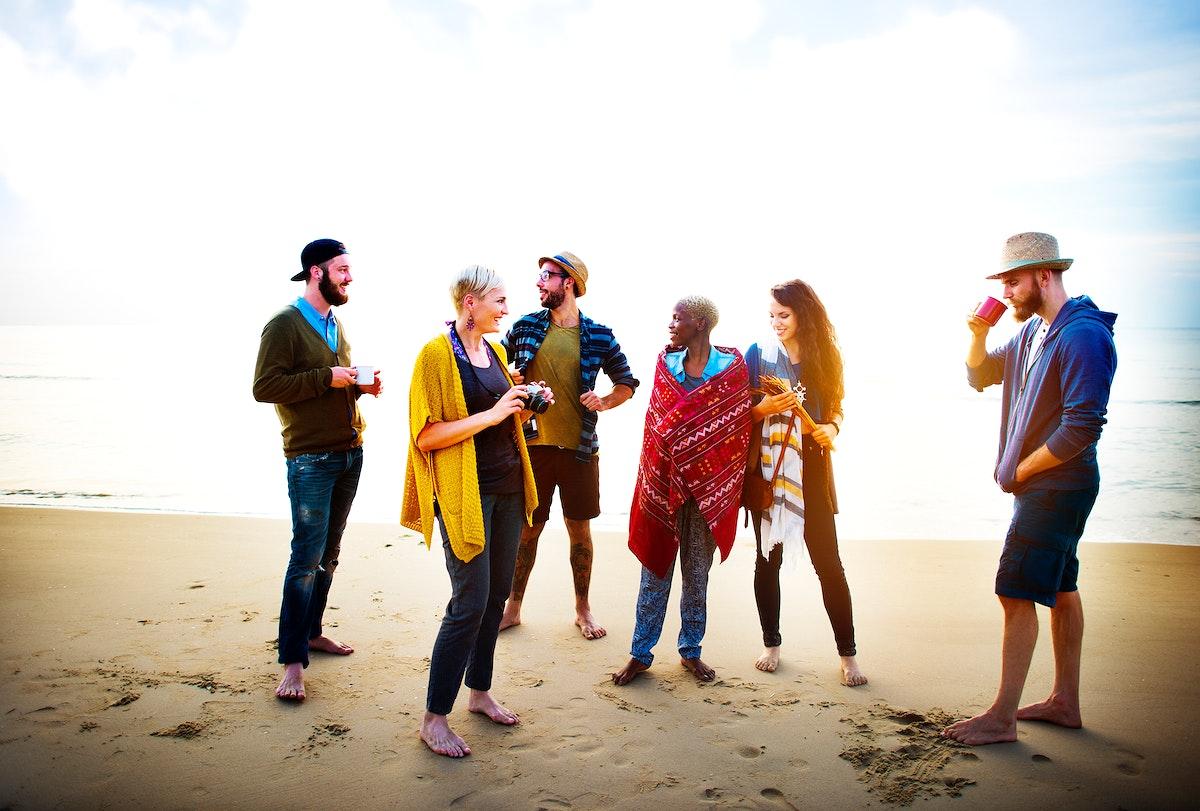 Friends having a beach party