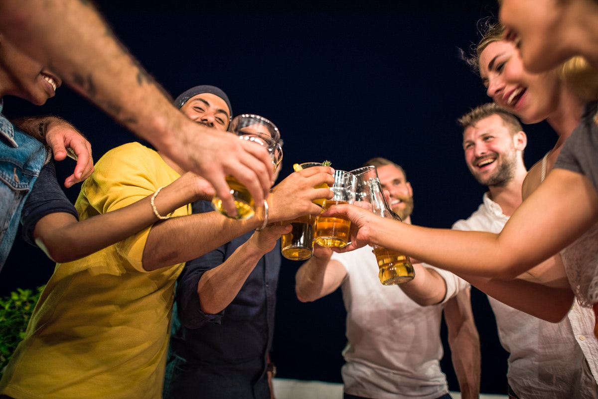 Group of friends drinking together