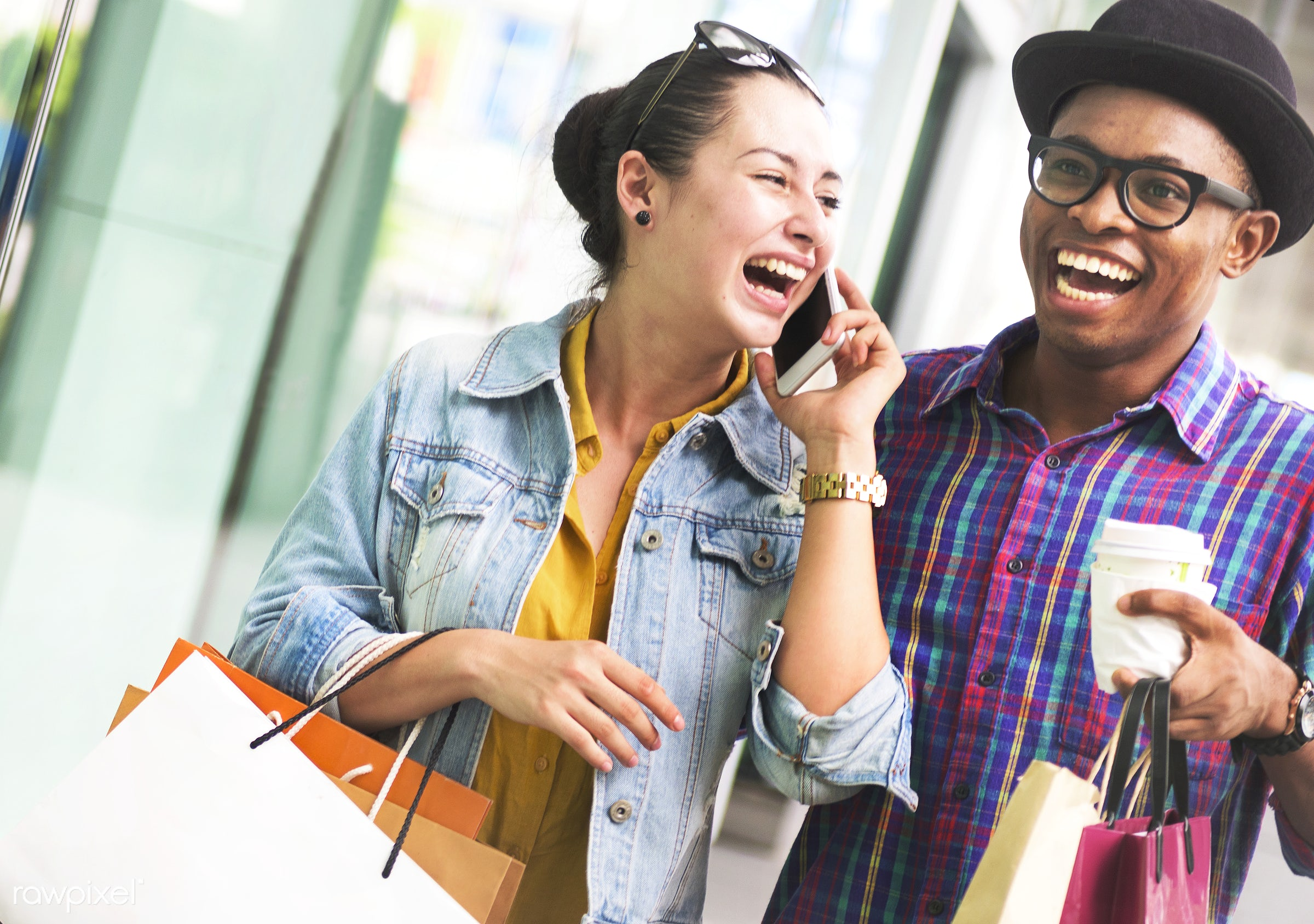 couple, happiness, shopping, customer, excited, african descent, boyfriend, buyer, buying, casual, cheerful, commerce,...
