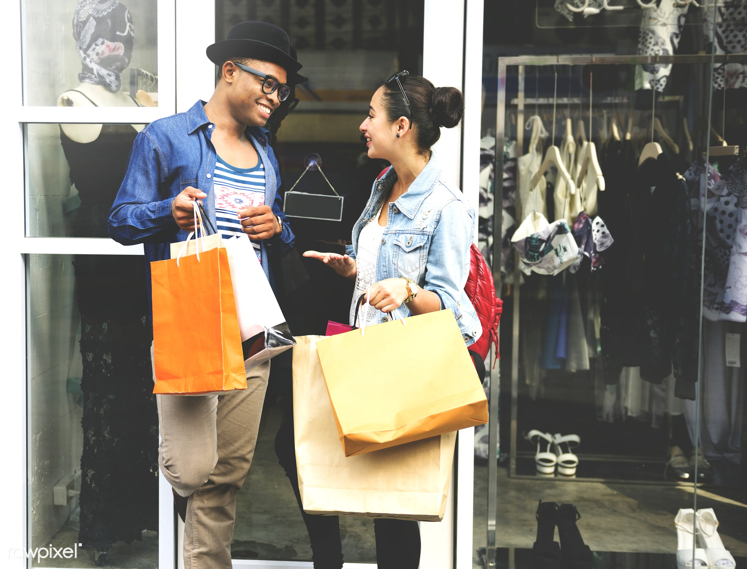 Friends shopping together - african, african descent, attractive, boyfriend, buyer, buying, casual, cheerful, commerce,...