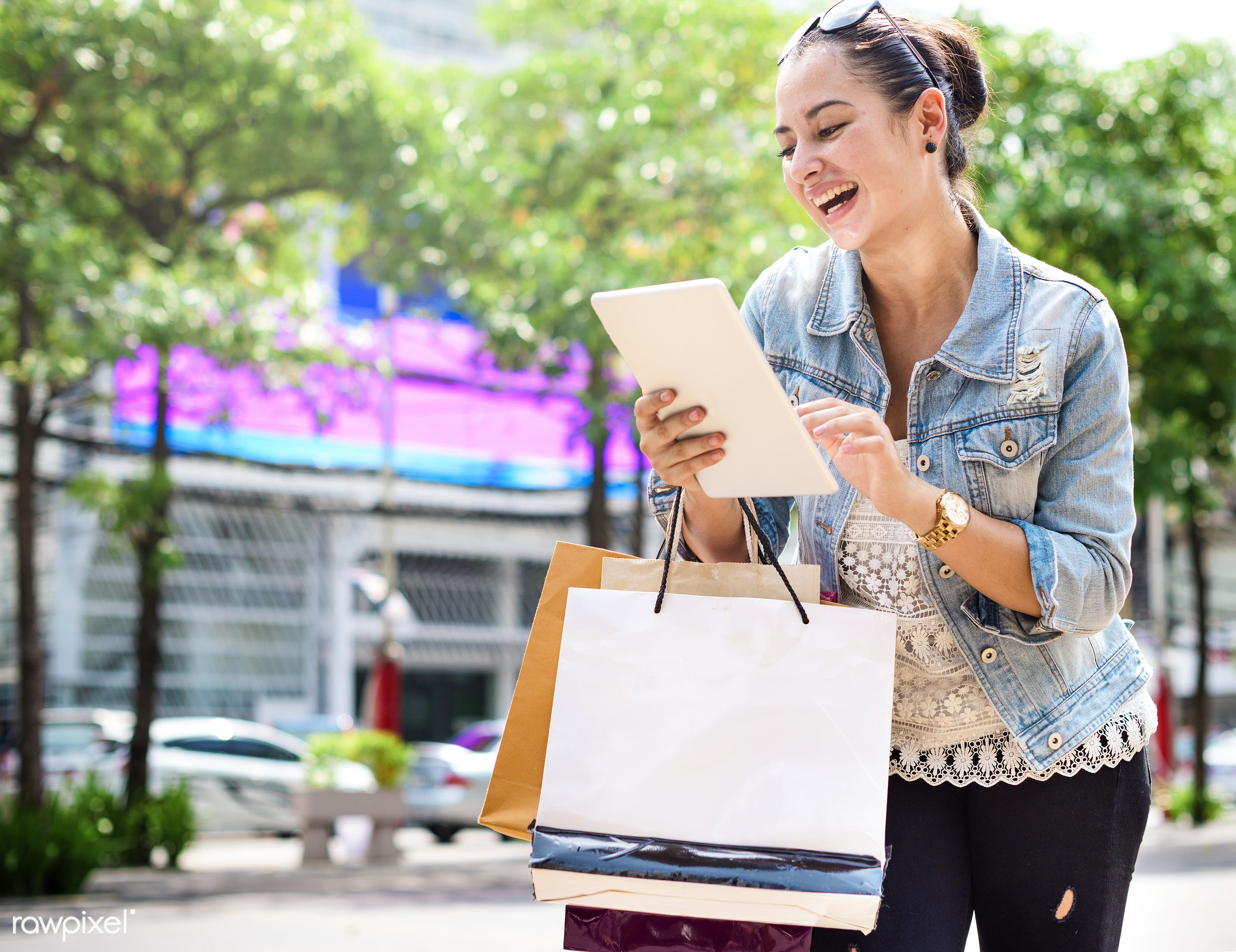 buyer, buying, casual, cheerful, commerce, connection, consumer, consumerism, customer, digital tablet, excited, girl,...