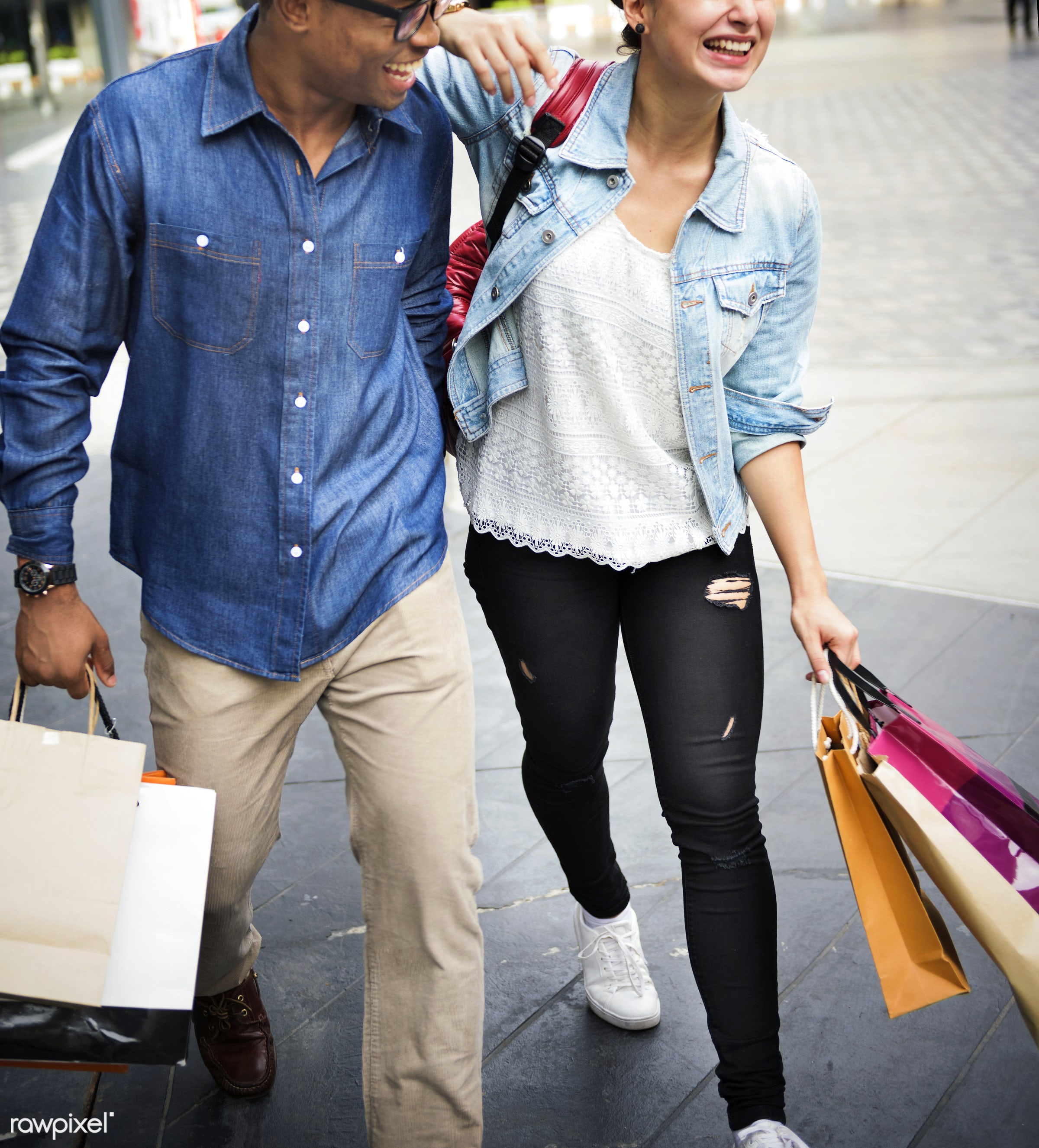 Friends shopping together - shopping, spend, walking, african descent, boyfriend, buyer, buying, casual, cheerful, commerce...
