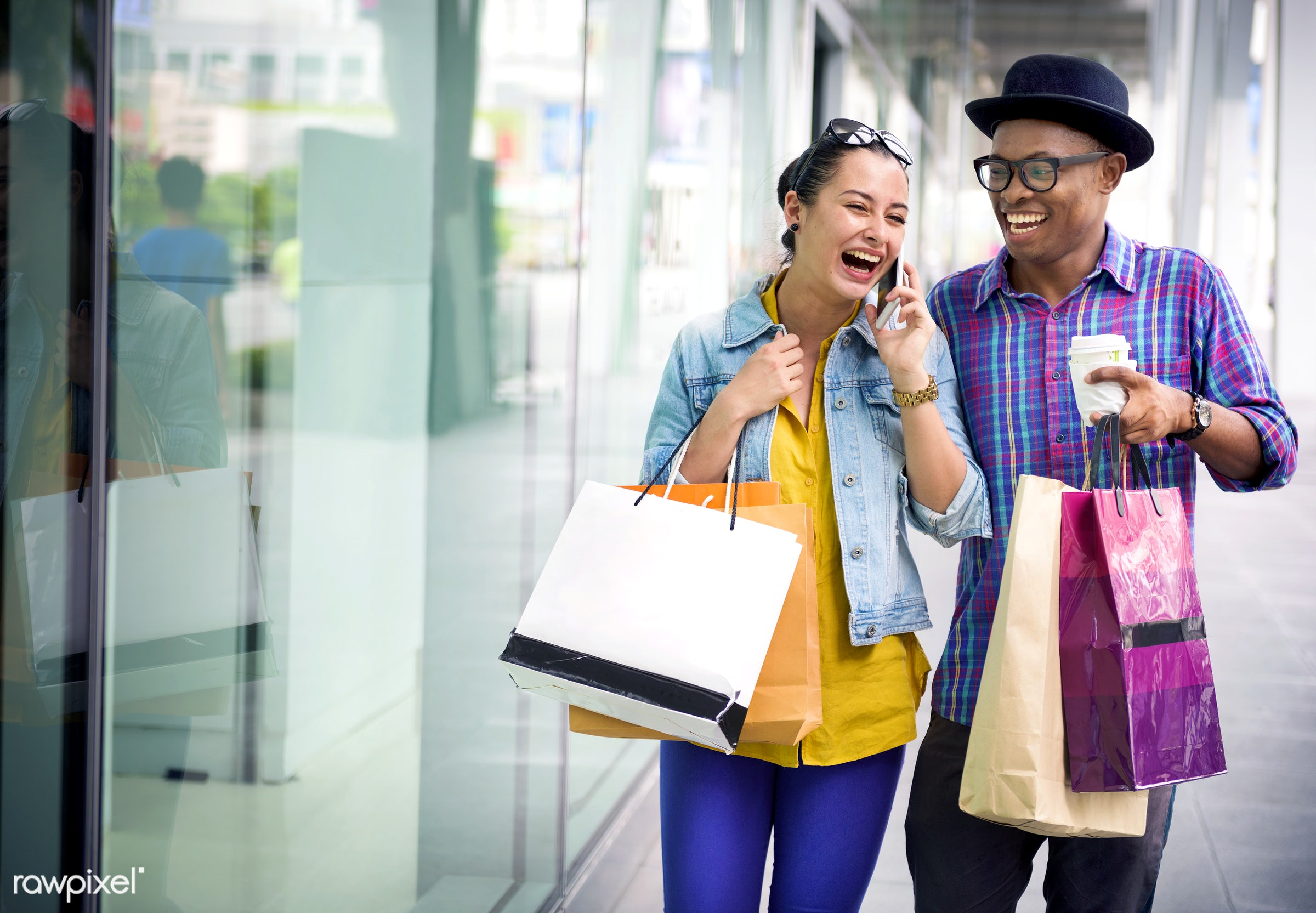 shopping, couple, consumer, mall, commerce, smiling, spend, african descent, boyfriend, buyer, buying, casual, cheerful,...