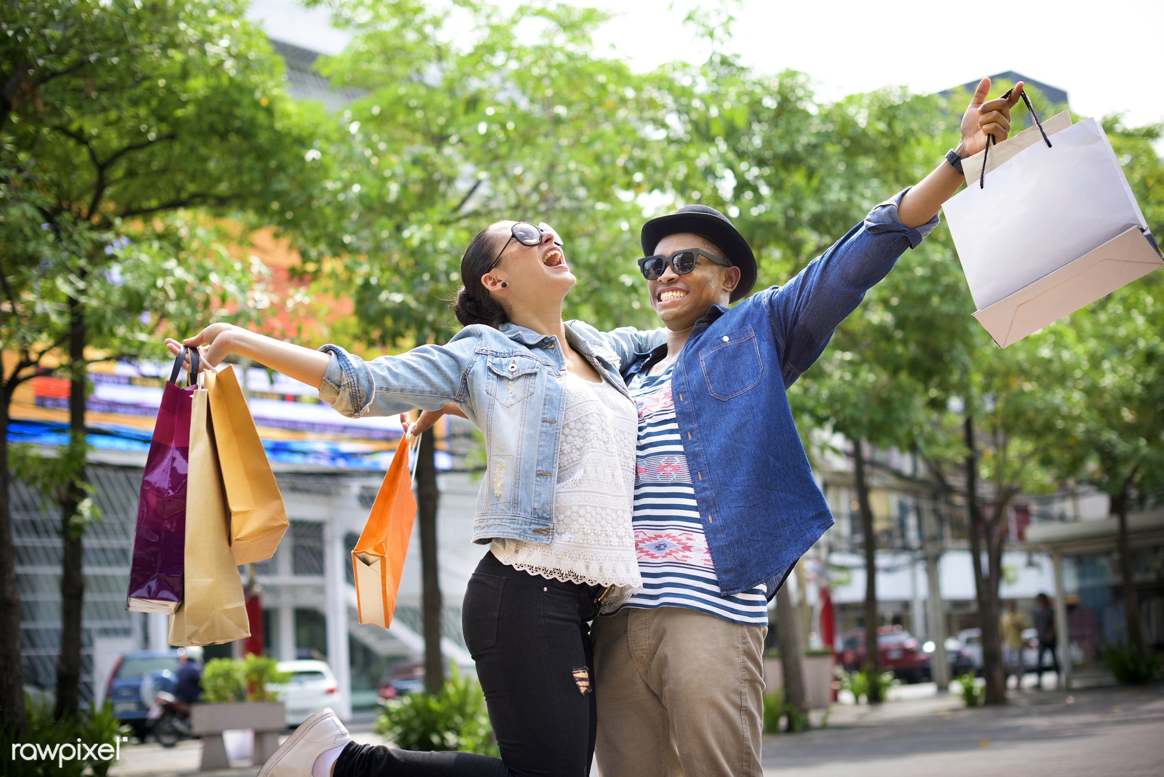 shopping, sale, street, excited, store, shopper, buyer, walking, african descent, boyfriend, buying, casual, cheerful,...