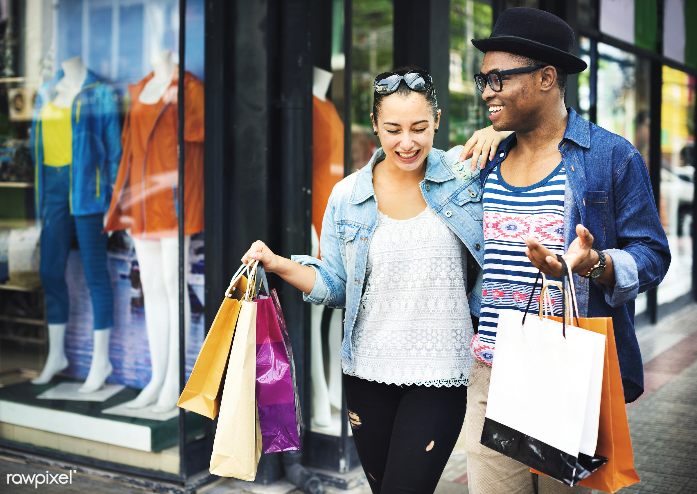 happy, mall, affection, african descent, bags, boyfriend, carrying, casual, caucasian, cheerful, couple, customer, cute,...