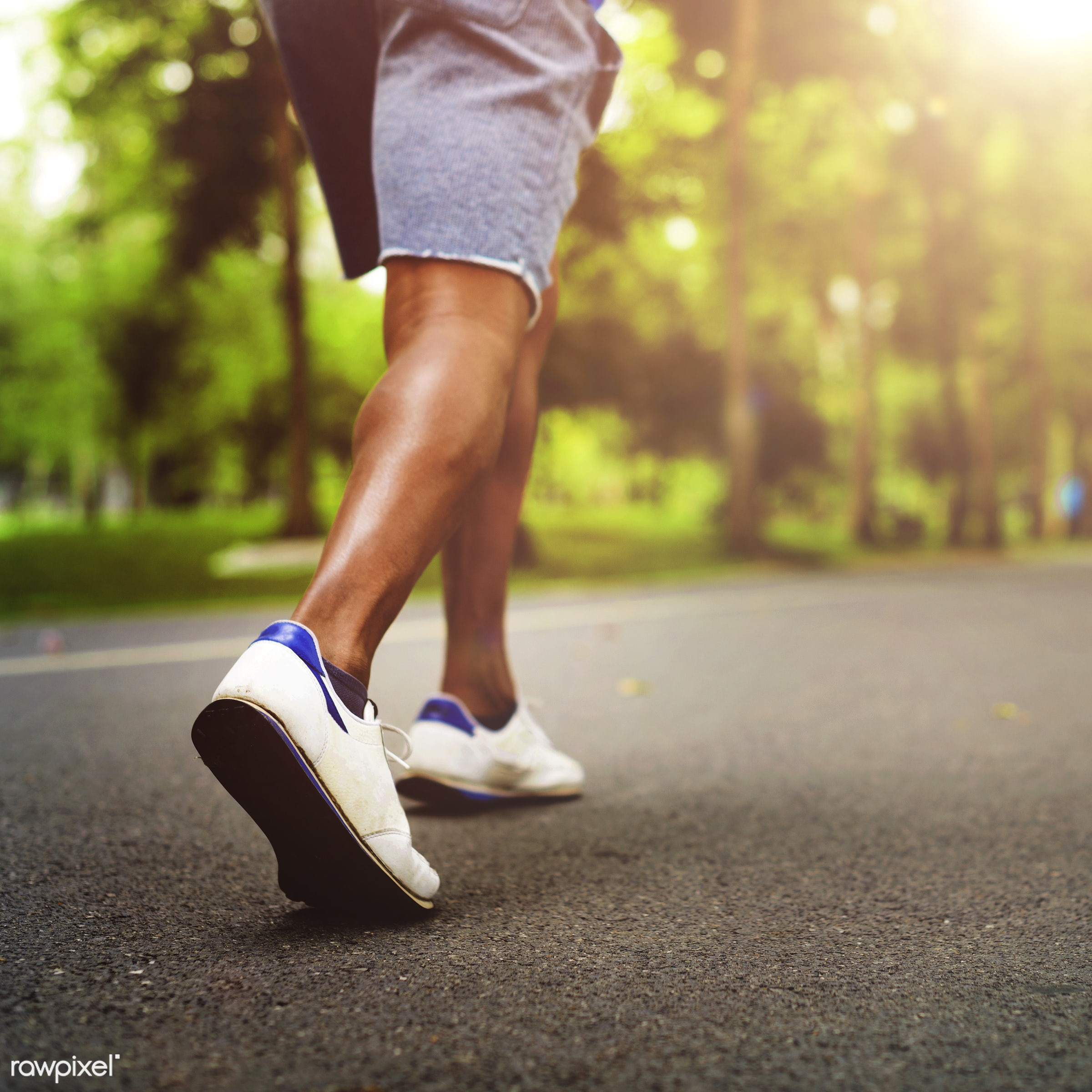 A man jogging in the park - runner, fitness, athlete, fit, running, technology, active, activity, app, application, black,...