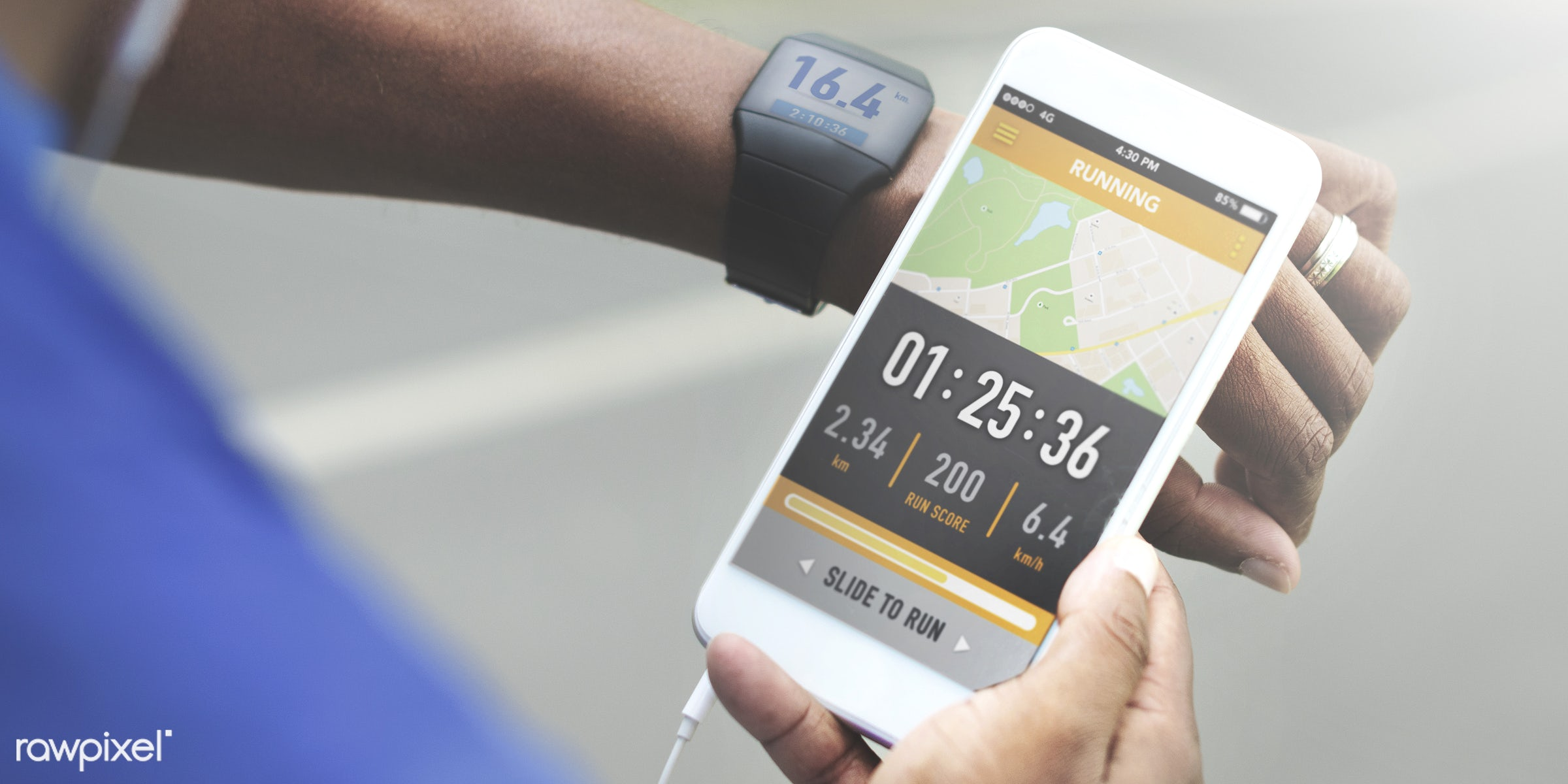 Man checking distance on smartphone - app, fitness, smartphone, active, activity, application, athlete, body building,...