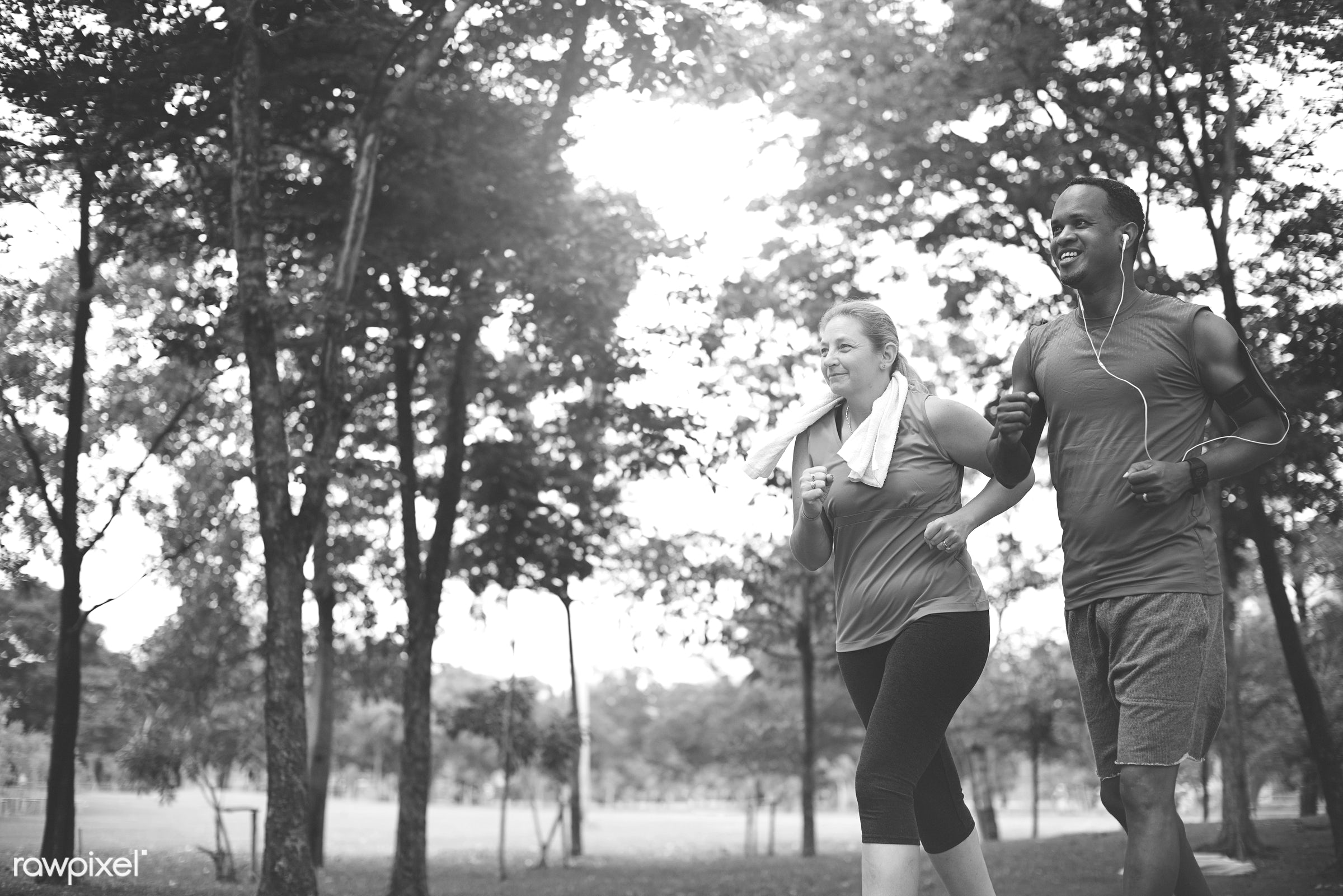 african, african descent, bonding, caucasian, cheerful, clothing, couple, exercise, fitness, form, garden, green, happiness...