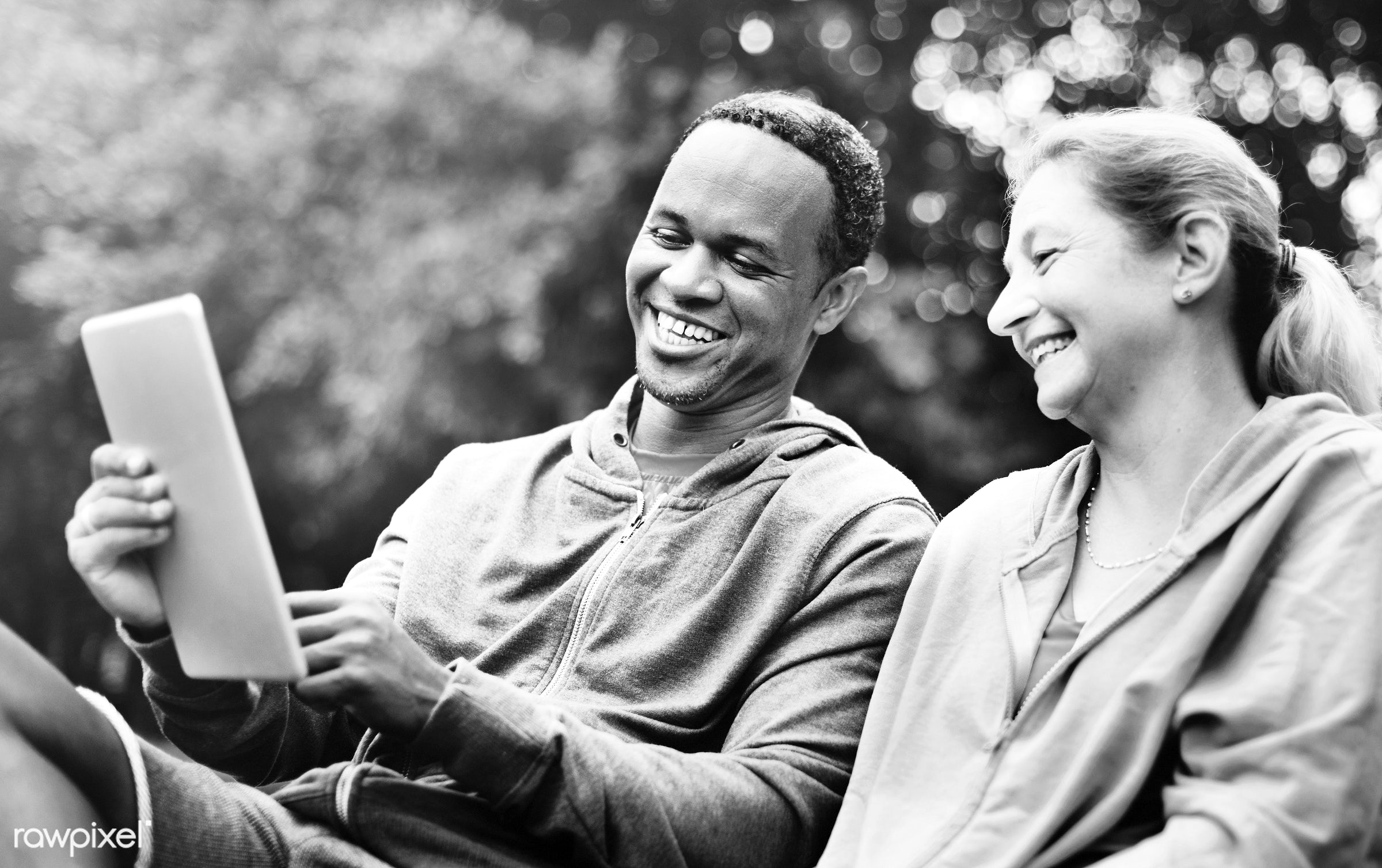 device, african, african descent, caucasian, cheerful, clothing, communication, couple, digital, exercise, form, garden,...